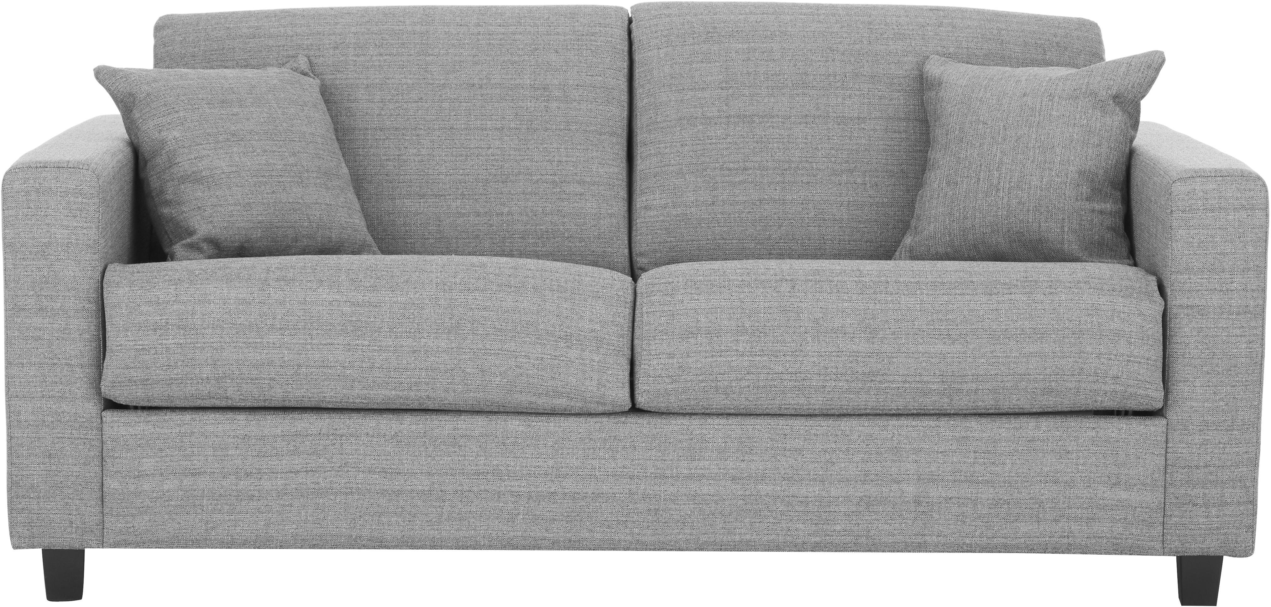 Sofá cama Maria, Tapizado: 40%algodón, 20%lino, 20, Patas: plástico, Estructura: tablero de fibras de dens, Tejido gris claro, An 180 x F 102 cm
