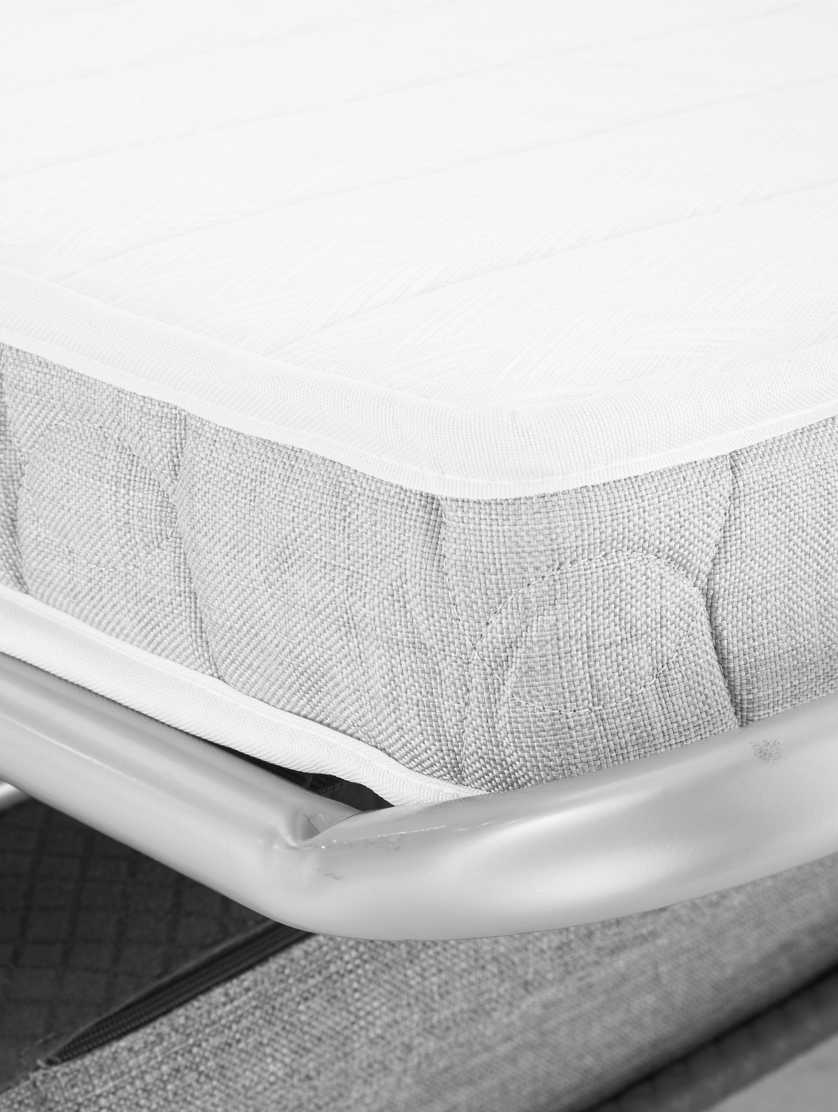 Schlafsofa Maria, Bezug: 40% Baumwolle, 20% Leinen, Füße: Kunststoff, Korpus: Mitteldichte Faserplatte,, Webstoff Hellgrau, B 180 x T 102 cm