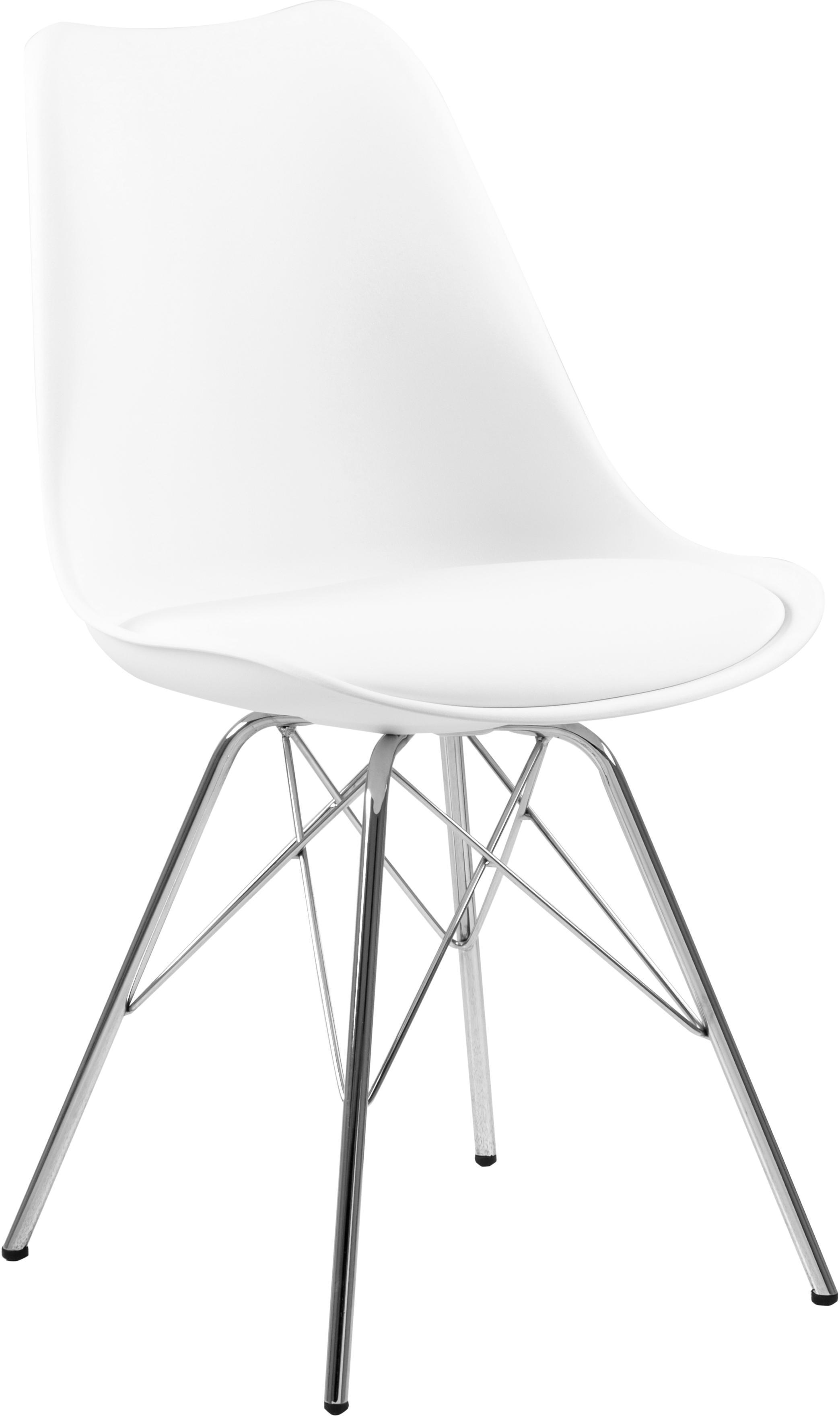 Sedia in materiale sintetico Eris 2 pz, Seduta: similpelle, Gambe: metallo cromato, Bianco, cromo, Larg. 49 x Prof. 54 cm