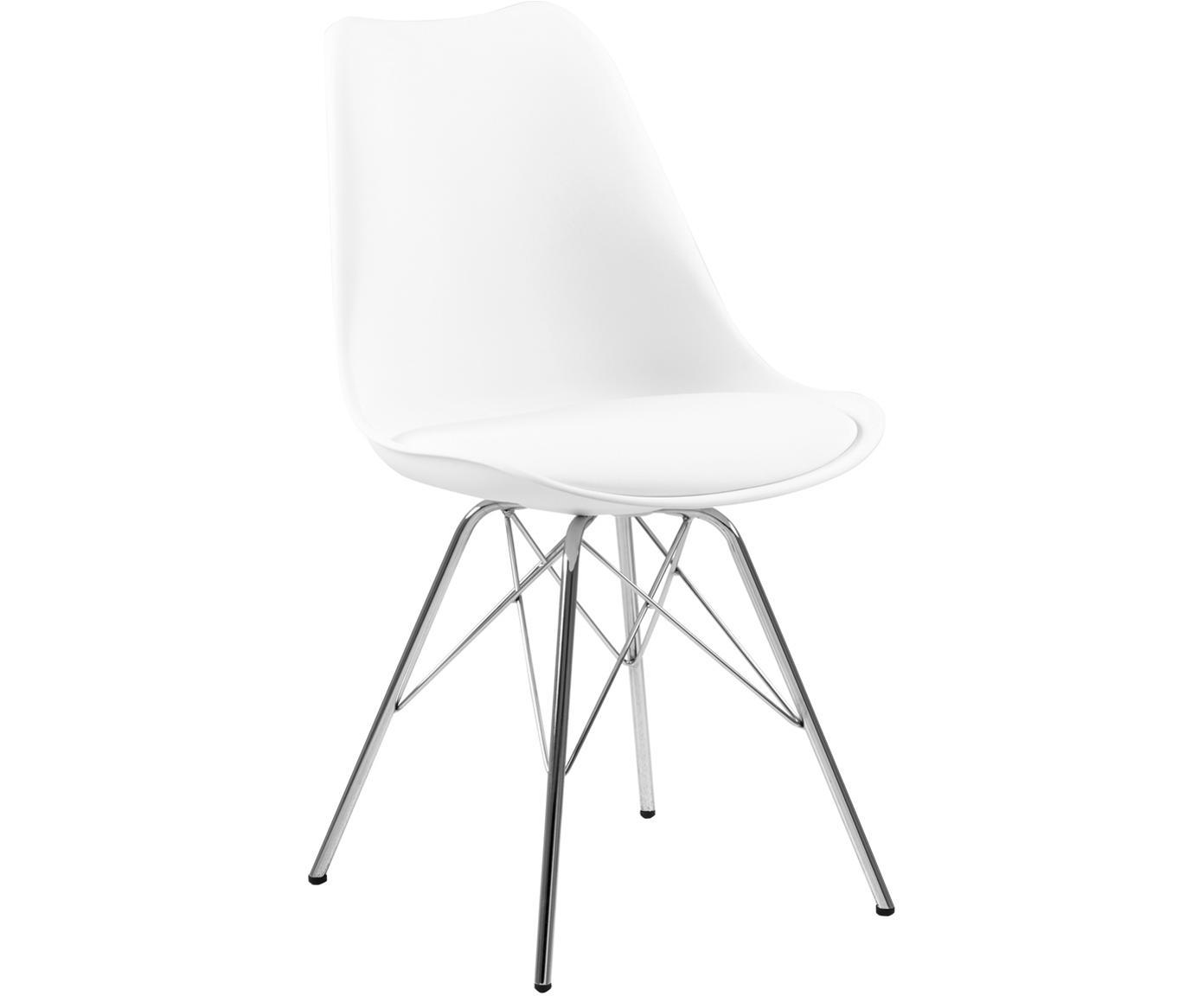 Kunststoffen stoelen Eris, 2 stuks, Zitvlak: kunststof, Zitvlak: kunstleer, Poten: verchroomd metaal, Wit, chroomkleurig, B 54 x D 49 cm