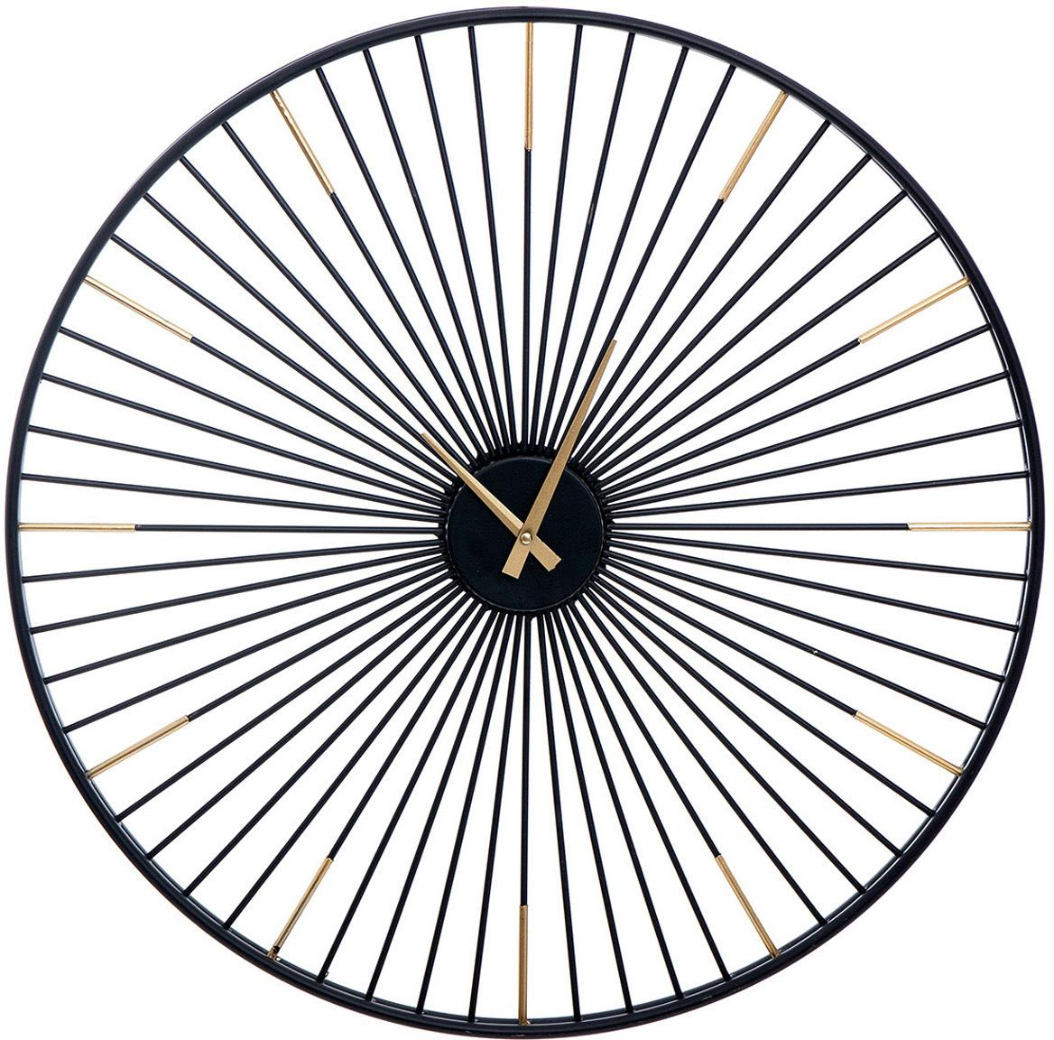 Reloj de pared Watch-Out, Hierro, Negro, dorado, Ø 65 cm