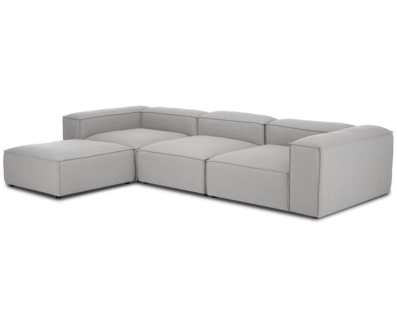 Sofa modułowa Lennon, Tapicerka: 100%poliester 40000cy, Stelaż: lite drewno sosnowe, płyt, Nogi: tworzywo sztuczne, Jasny szary, S 333 x G 214 cm