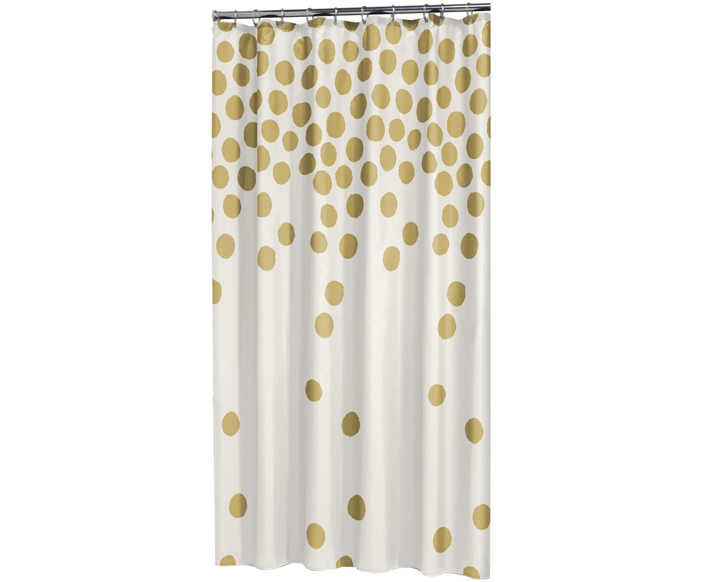 Douchegordijn Spots in wit/goudkleur, Oogjes: metaal, Wit, goudkleurig, 180 x 200 cm