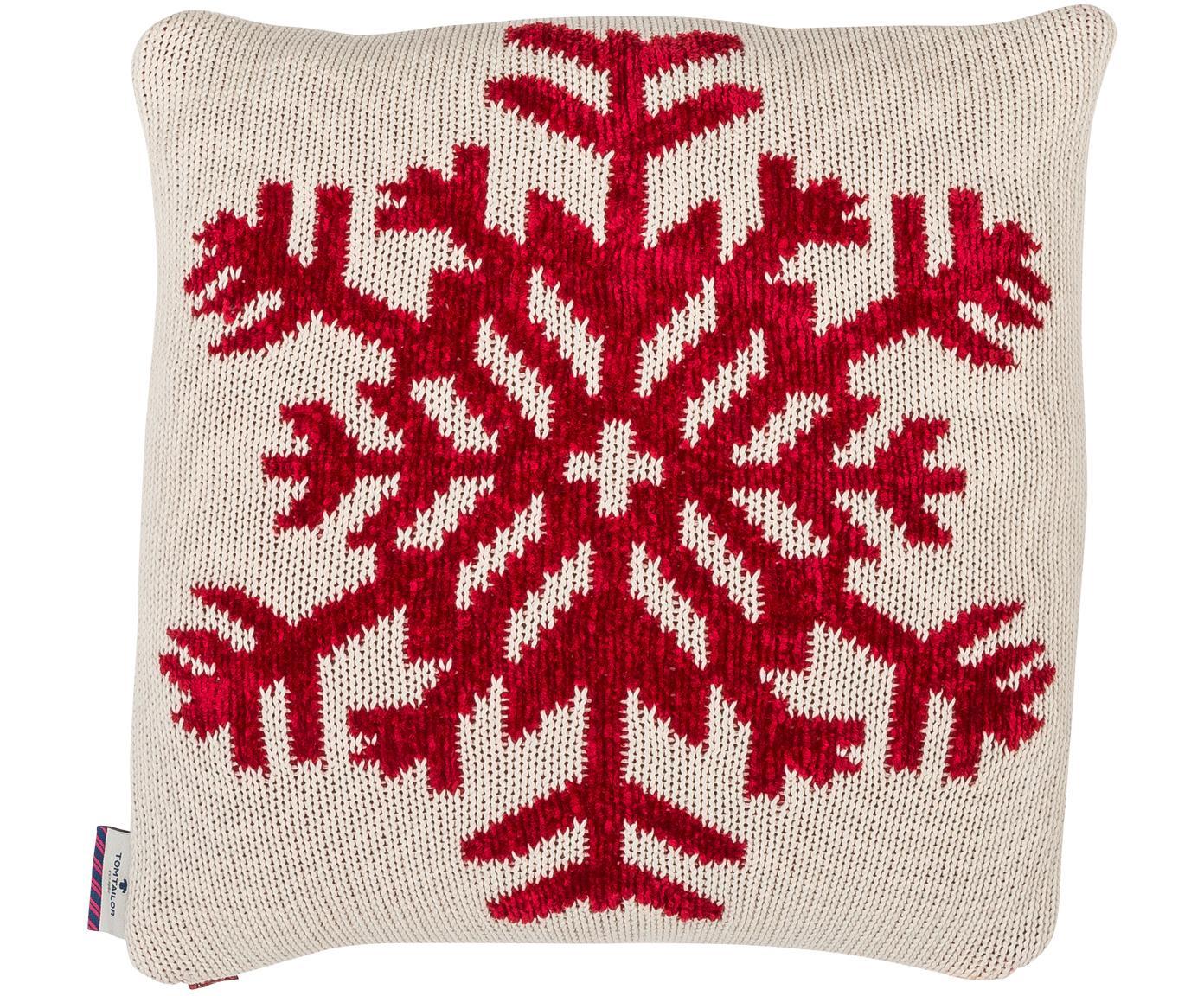 Gebreide kussenhoes Snowflake, Katoen, Wit, rood, 40 x 40 cm