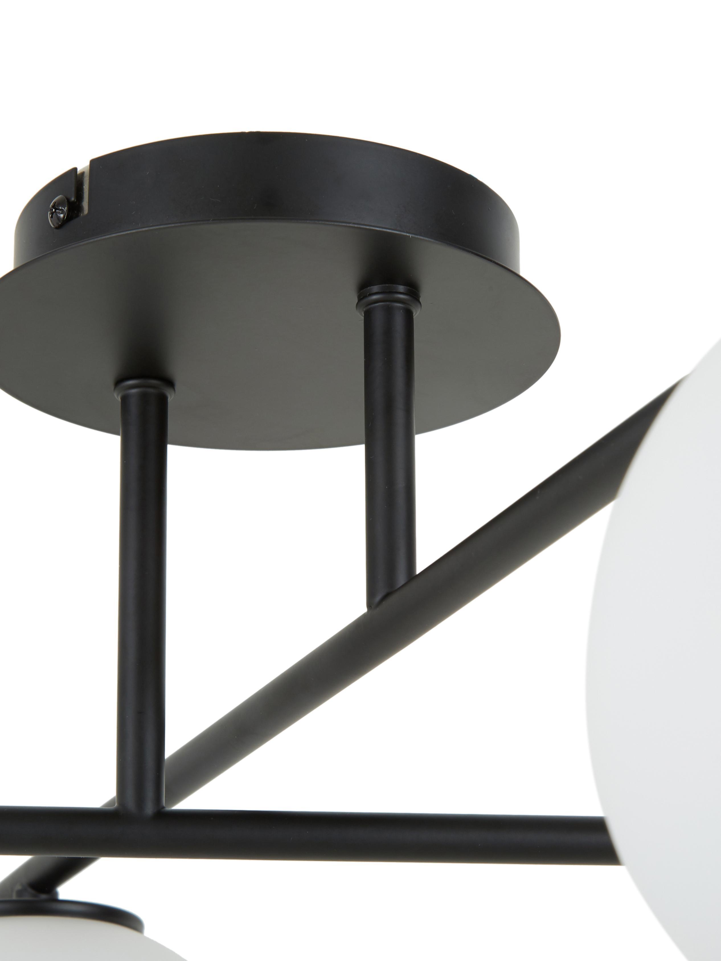 Deckenleuchte Atlanta in Schwarz, drehbar, Baldachin: Metall, pulverbeschichtet, Schwarz, 65 x 30 cm
