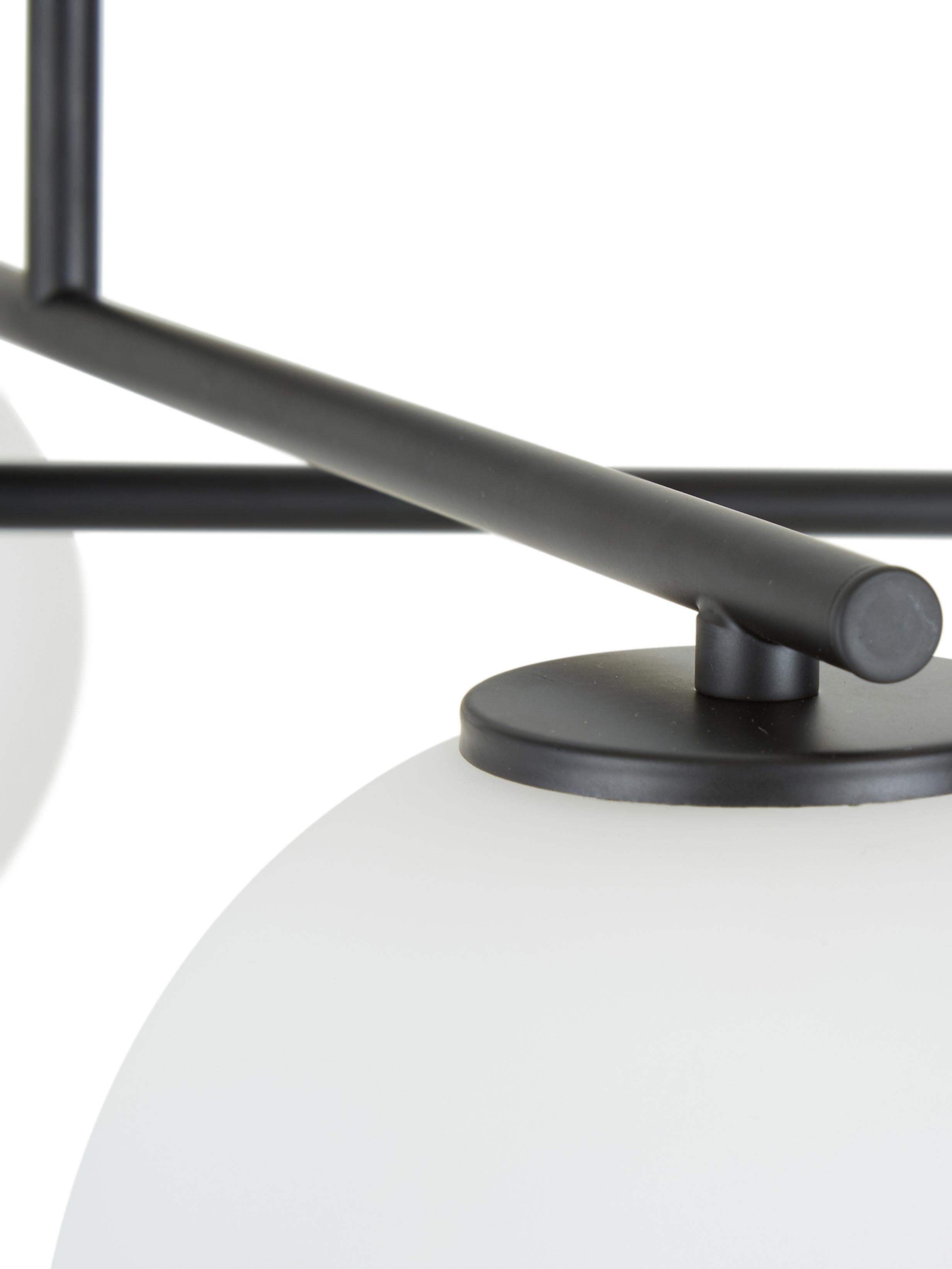 Plafoniera nera Atlanta, Baldacchino: metallo verniciato a polv, Nero, Larg. 65 x Alt. 30 cm