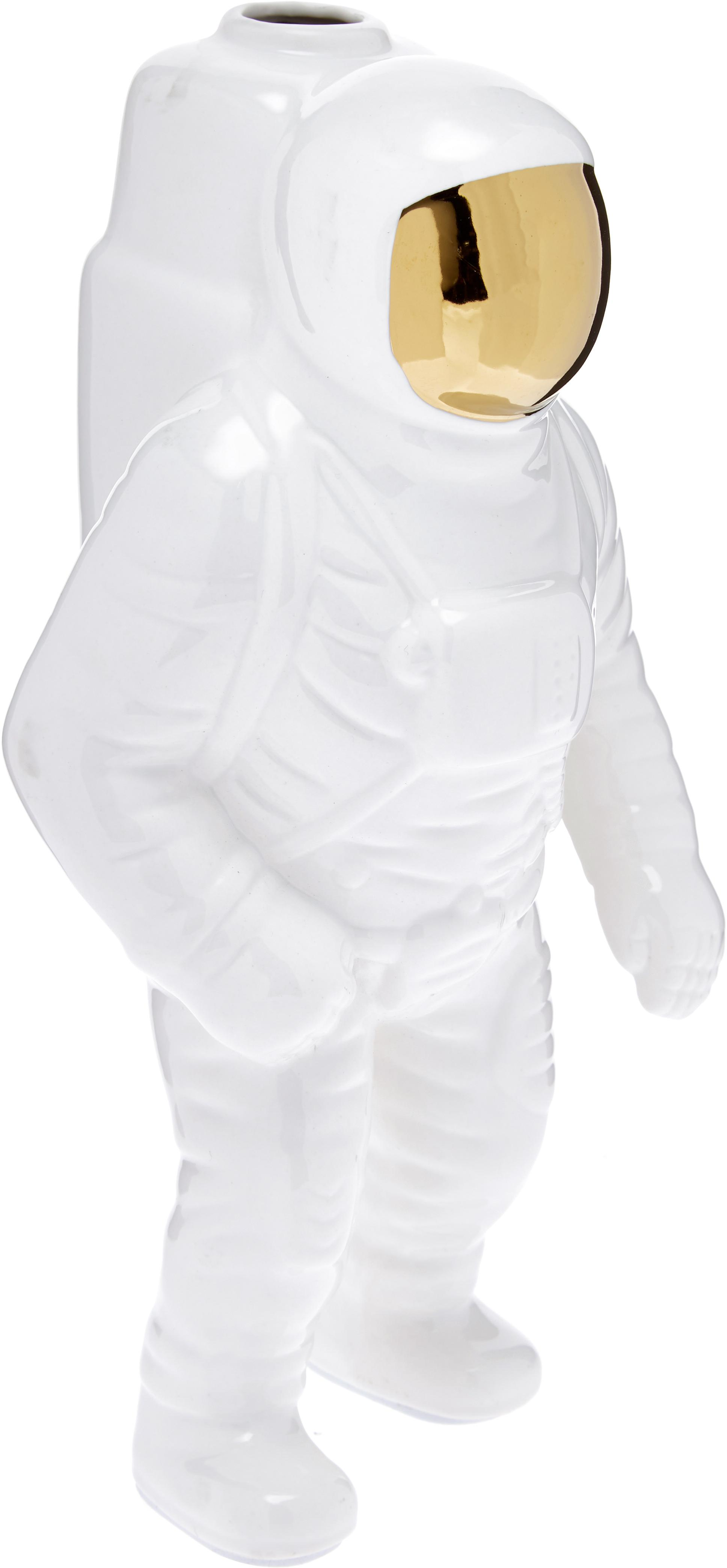 Decoratieve vaas Cosmic Diner Starman, Porselein, Wit, goudkleurig, H 28 cm