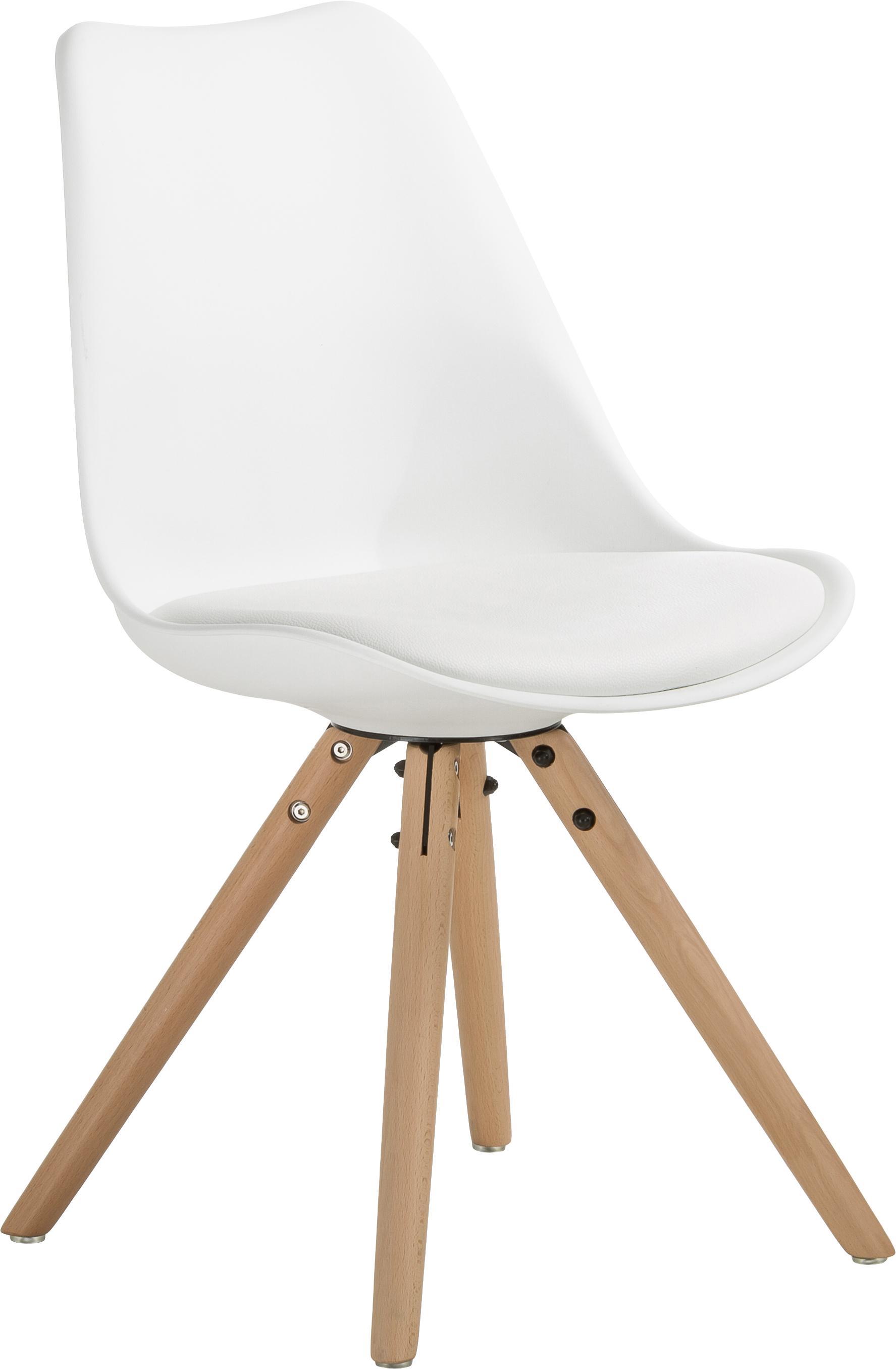 Stühle Max mit Kunstleder-Sitzfläche, 2 Stück, Sitzfläche: Kunstleder (Polyurethan), Sitzschale: Kunststoff, Beine: Buchenholz, Weiss, B 46 x T 54 cm
