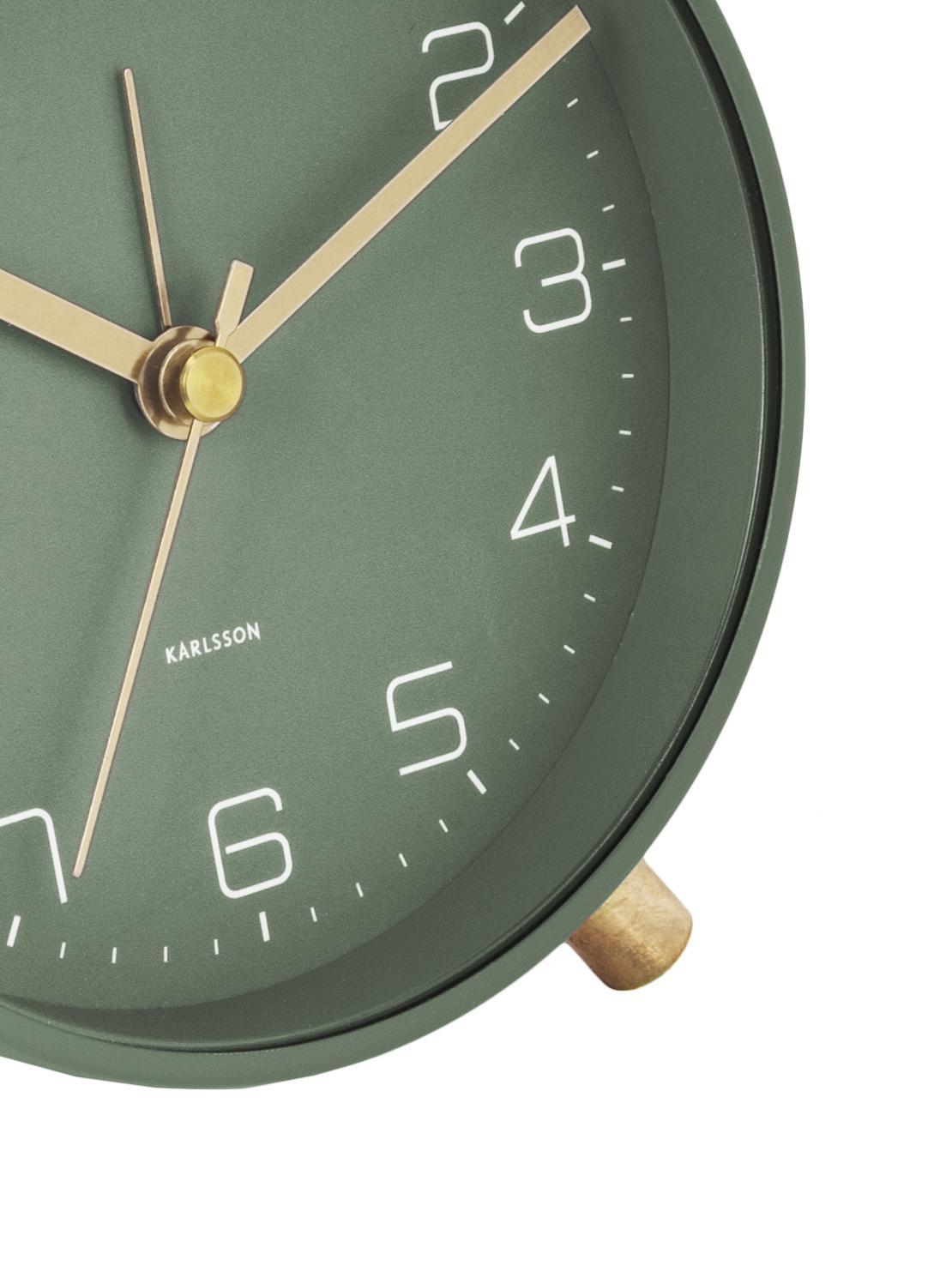 Wecker Lofty, Metall, lackiert, Grün, Ø 11 x T 5 cm
