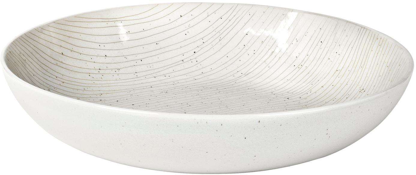 Ciotola da portata fatta a mano Copenhagen, Terracotta, Avorio con sottili righe beige chiaro, Ø 31 x Alt. 7 cm