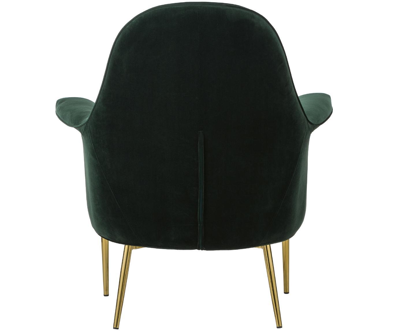 Fotel z aksamitu Everly, Tapicerka: aksamit (poliester), Nogi: metal powlekany, Tapicerka: zielony Nogi: odcienie złotego, S 85 x G 80 cm