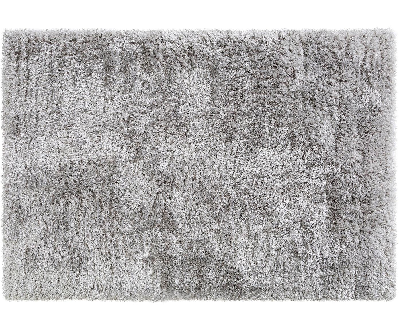 Glanzend hoogpolig vloerkleed Lea, 50% polyester, 50% polypropyleen, Grijs, B 140 x L 200 cm (maat S)