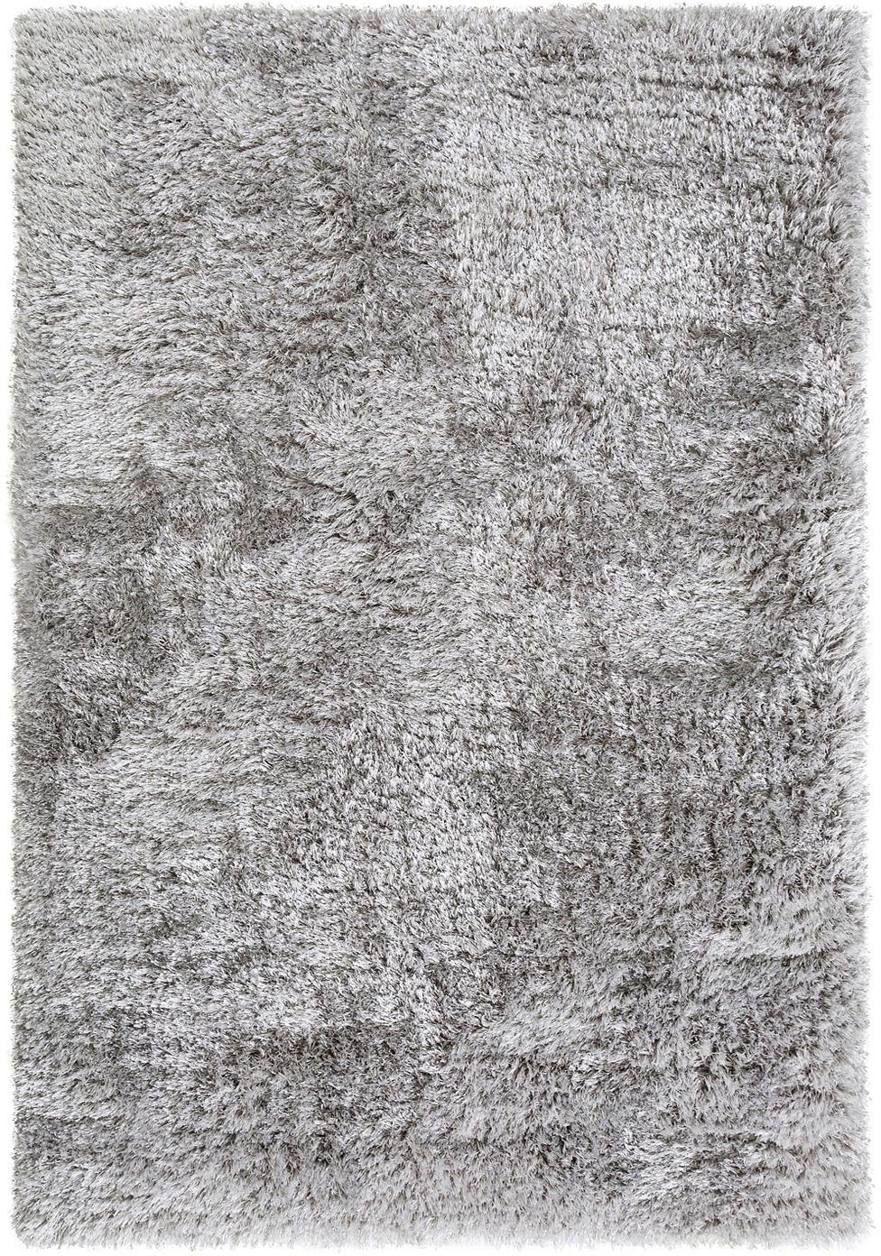 Glänzender Hochflor-Teppich Lea in Hellgrau, Flor: 50% Polyester, 50% Polypr, Grau, B 140 x L 200 cm (Größe S)