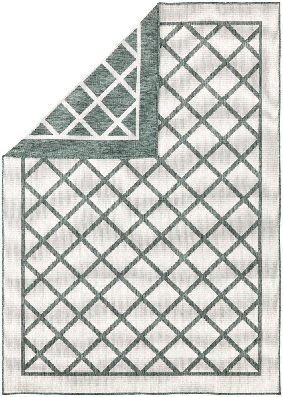 Dwustronny dywan wewnętrzny/zewnętrzny Sydney, Zielony, kremowy, S 200 x D 290 cm (Rozmiar L)