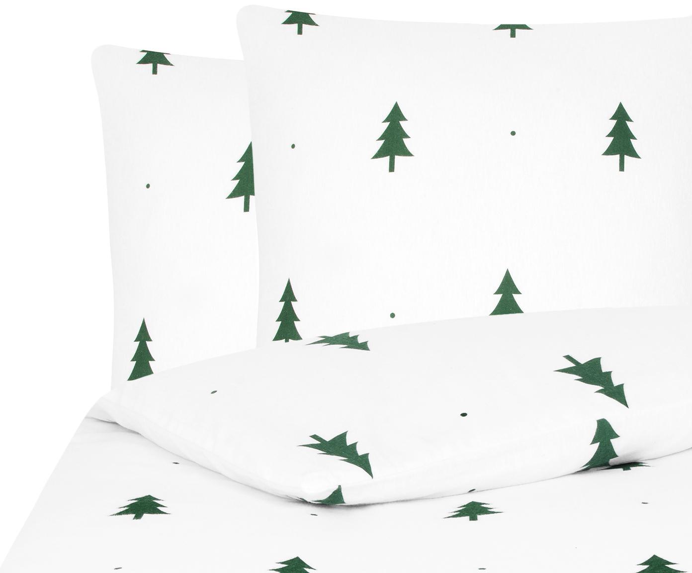 Flanell-Bettwäsche X-mas Tree in Weiß/Grün, Webart: Flanell Flanell ist ein s, Weiß, Grün, 200 x 200 cm