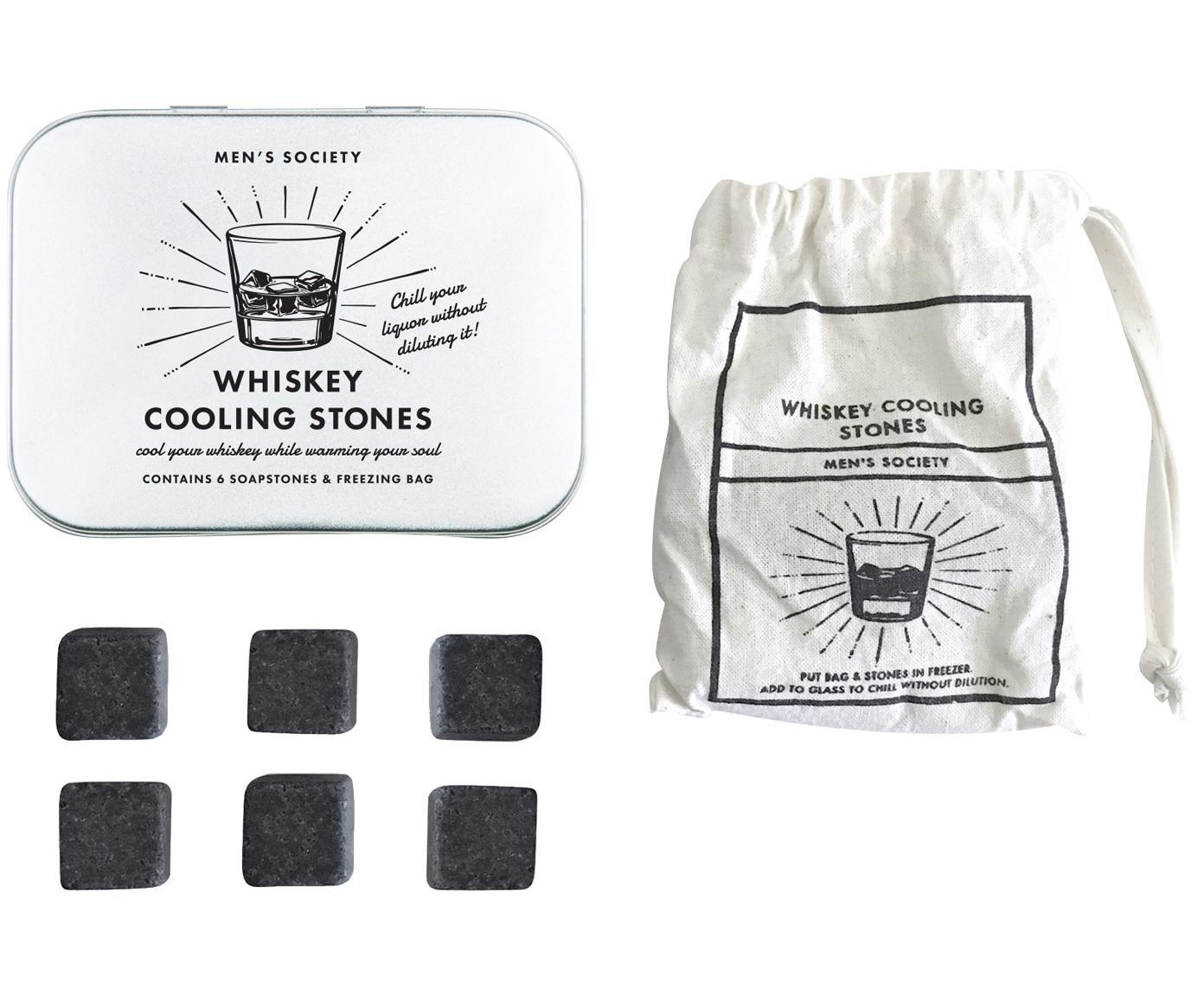 Set piedras de Whiskey, 7pzas., Bolsa: algodón, Caja: metal, Gris, Tamaños diferentes