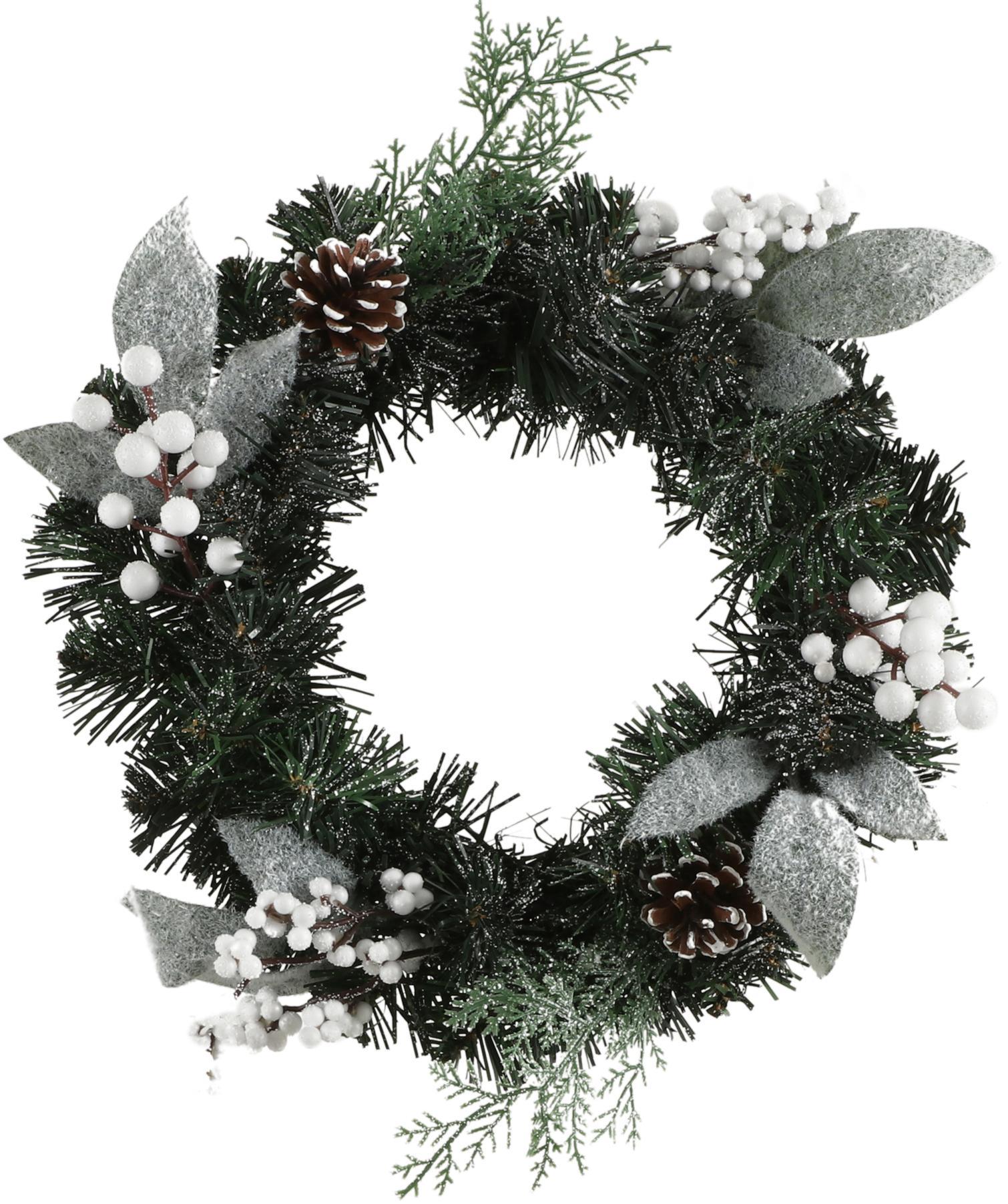 Künstlicher Weihnachtskranz Hailey, Kunststoff, Grün, Weiss, Silberfarben, Ø 30 cm