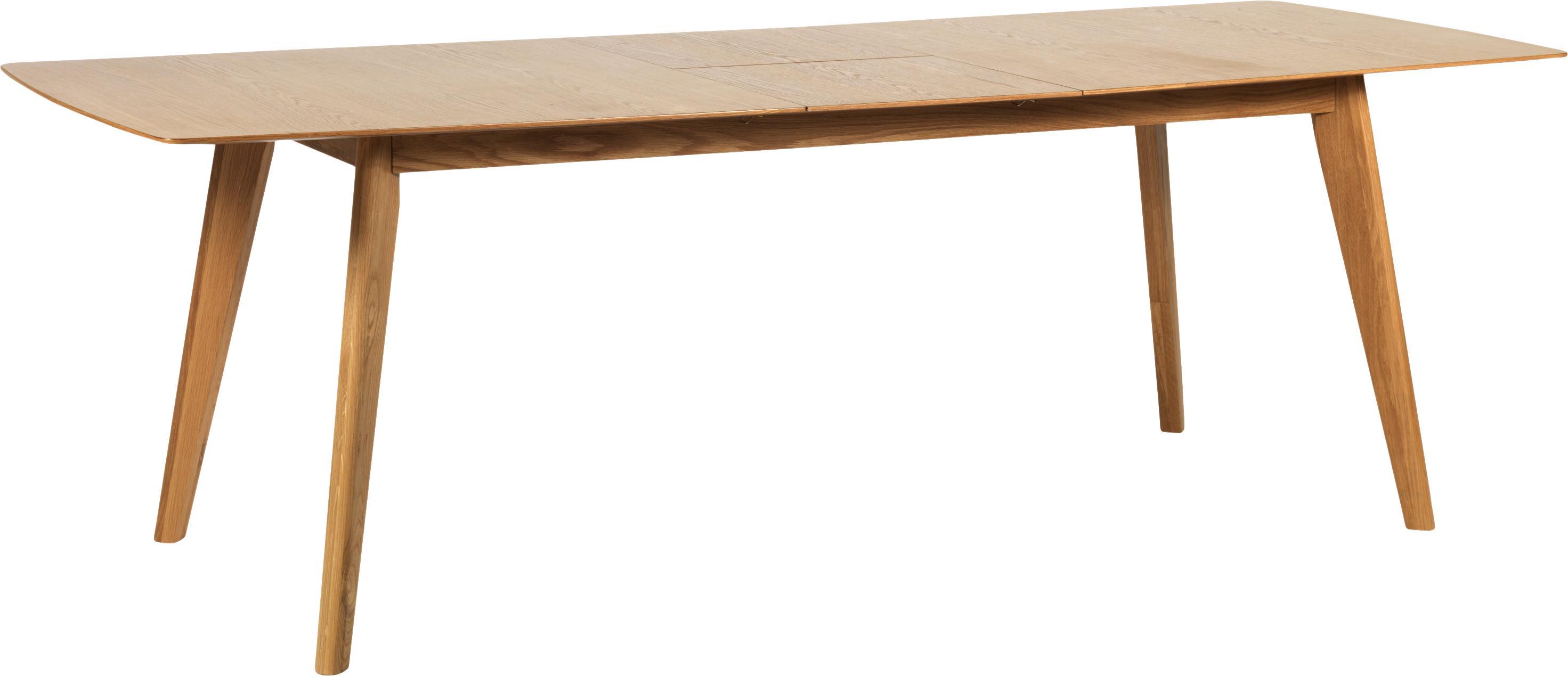 Mesa de comedor extensible en roble Cirrus, Tablero: fibras de densidad media , Patas: madera de roble, lacado c, Roble mate, An 190-235 x F 90 cm