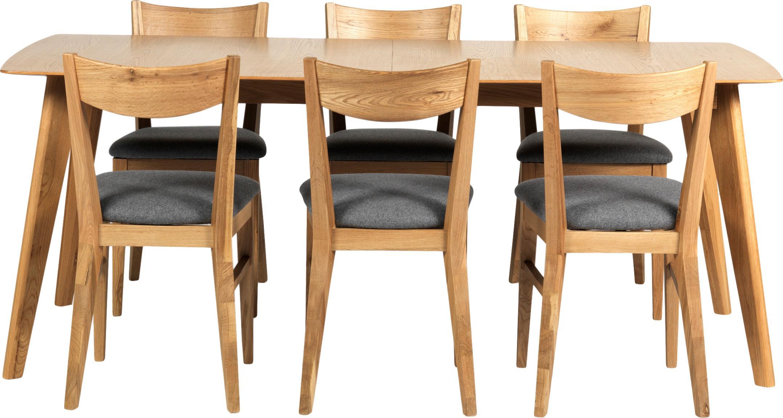 Ausziehbarer Esstisch Cirrus mit Eichenholzfurnier, Tischplatte: Mitteldichte Holzfaserpla, Beine: Eichenholz, klarlackiert, Eichenholz, matt, B 190 bis 235 x T 90 cm