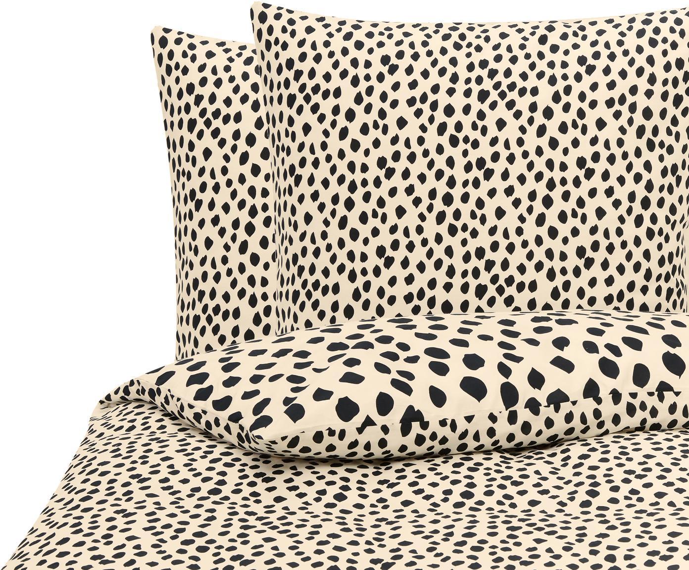 Baumwoll-Bettwäsche Go Wild mit Leoparden-Muster, 100% Baumwolle  Bettwäsche aus Baumwolle fühlt sich auf der Haut angenehm weich an, nimmt Feuchtigkeit gut auf und eignet sich für Allergiker., Beige,Schwarz, 200 x 220 cm + 2 Kissen 80 x 80 cm