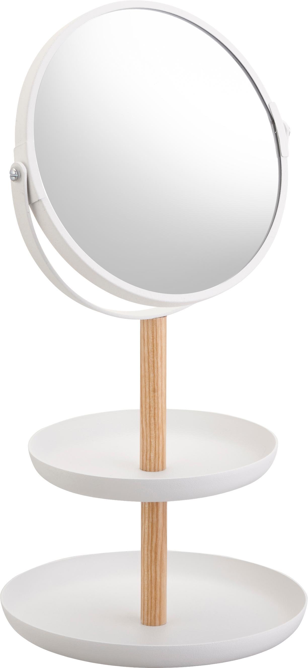 Specchio cosmetico Tosca con ingrandimento, Asta: legno, Superficie dello specchio: lastra di vetro, Bianco, marrone, Larg. 18 x Alt. 33 cm