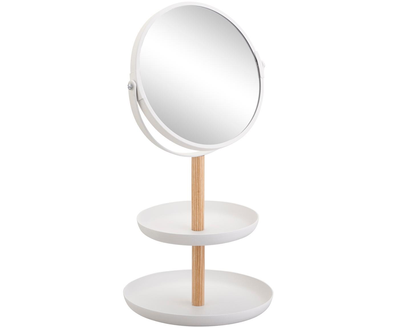 Kosmetikspiegel Tosca mit Vergrösserung, Stange: Holz, Spiegelfläche: Spiegelglas, Weiss, Braun, 18 x 33 cm