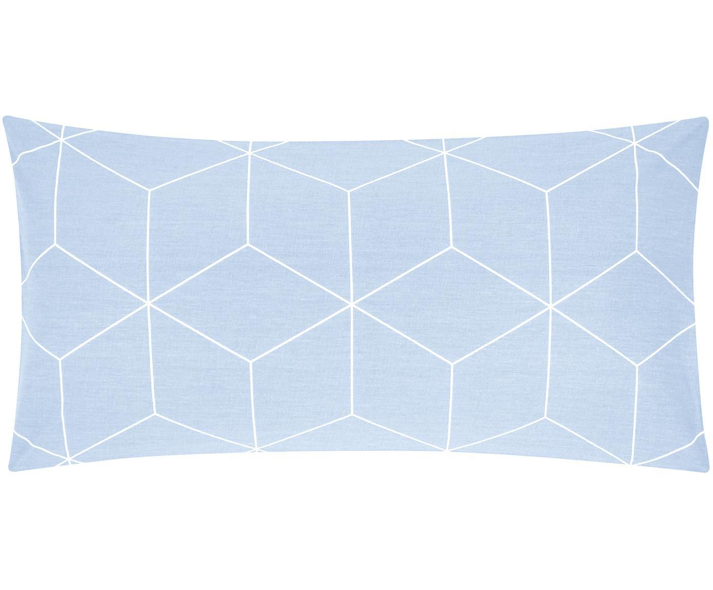 Baumwoll-Kissenbezüge Lynn mit grafischem Muster, 2 Stück, Webart: Renforcé Fadendichte 144 , Hellblau, Cremeweiss, 40 x 80 cm
