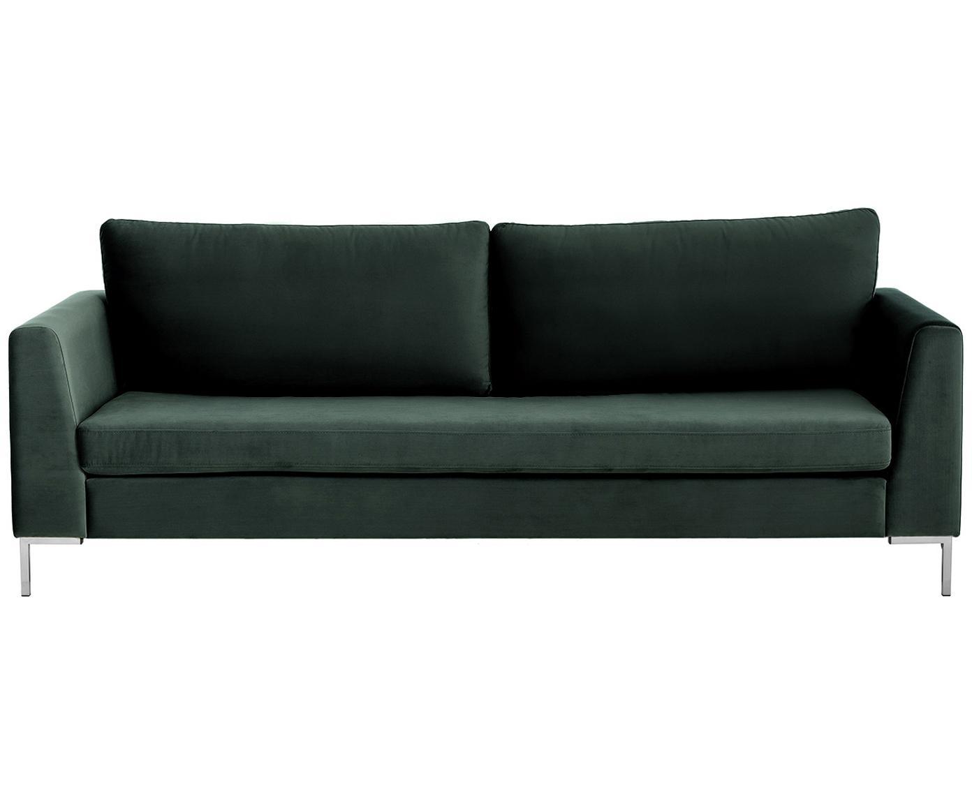 Sofá de terciopelo Luna (3plazas), Tapizado: terciopelo (poliéster) 80, Estructura: madera de haya, Patas: metal galvanizado, Terciopelo verde oscuro, plateado, An 230 x F 95 cm