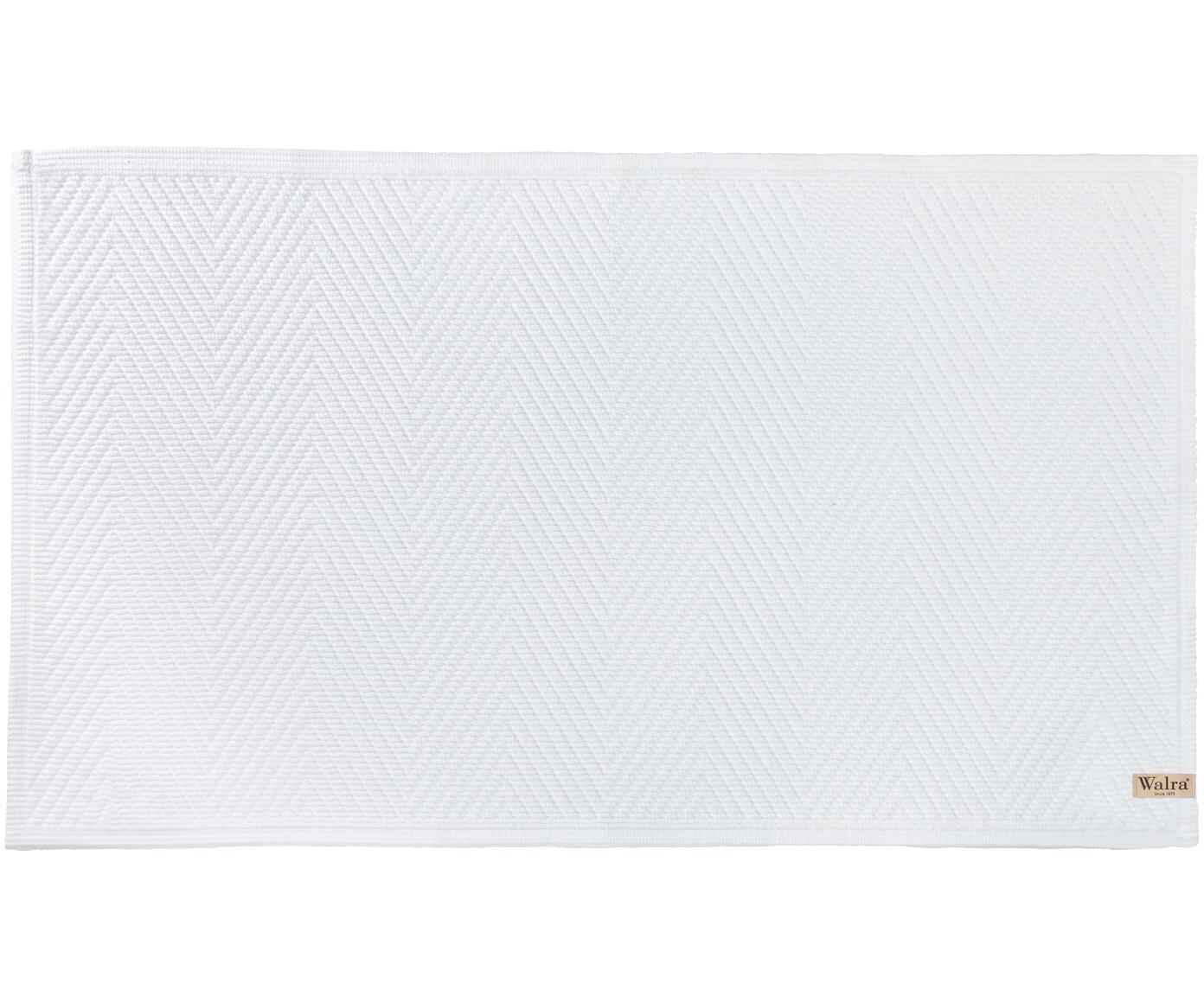 Zachte katoenen badmat met visgraatmotief., Katoen, Wit, 60 x 100 cm