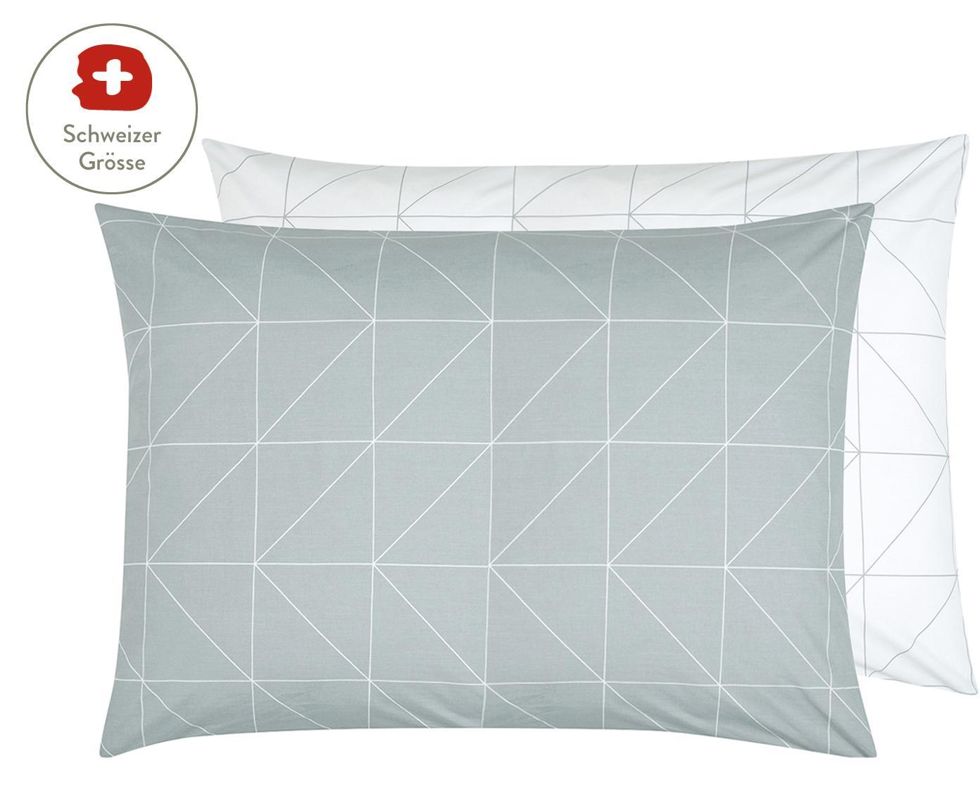 Baumwoll-Wendekissenbezug Marla mit grafischem Muster, Webart: Renforcé Fadendichte 144 , Grau, Weiss, 50 x 70 cm