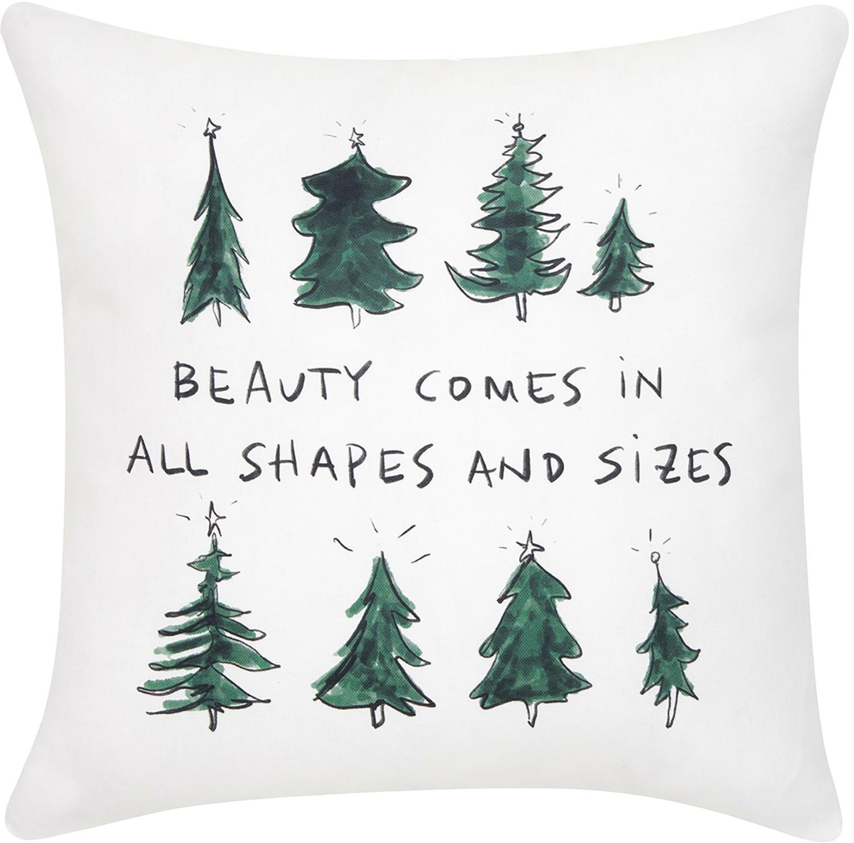 Funda de cojín Beauty diseño Kera Till, 100%algodón, Verde, negro, blanco crema, An 40 x L 40 cm