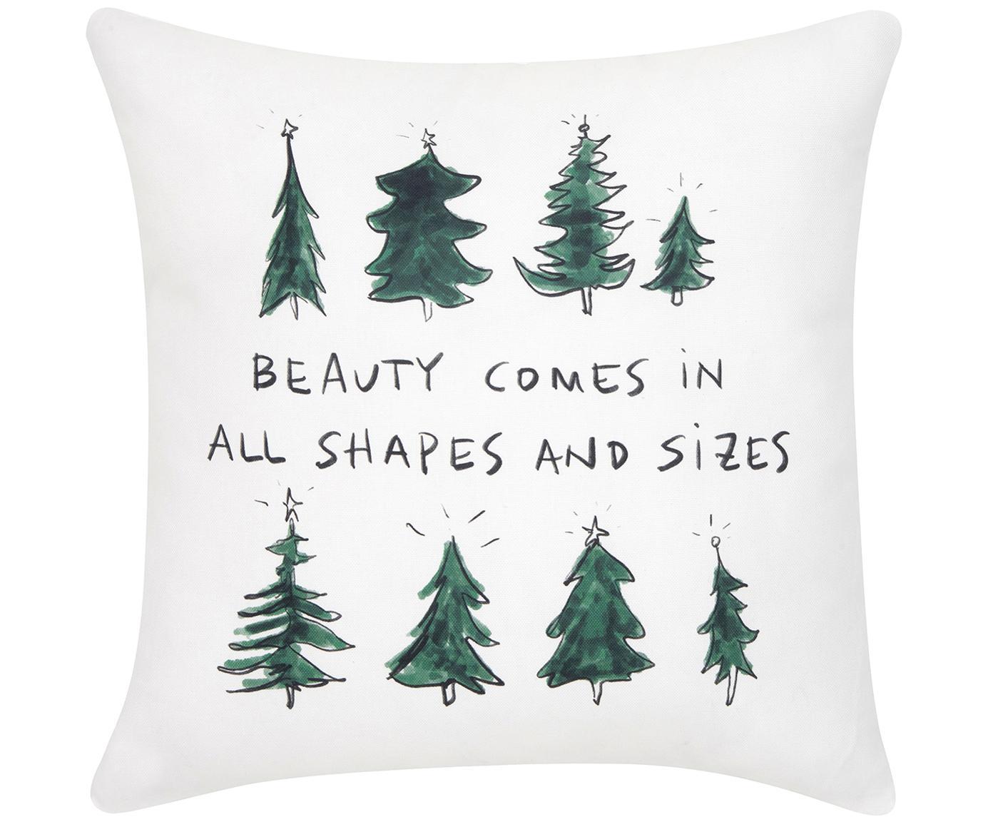 Kissenhülle Beauty mit Aufschrift und Tannenbäumen, Baumwolle, Grün, Schwarz, Cremeweiß, 40 x 40 cm