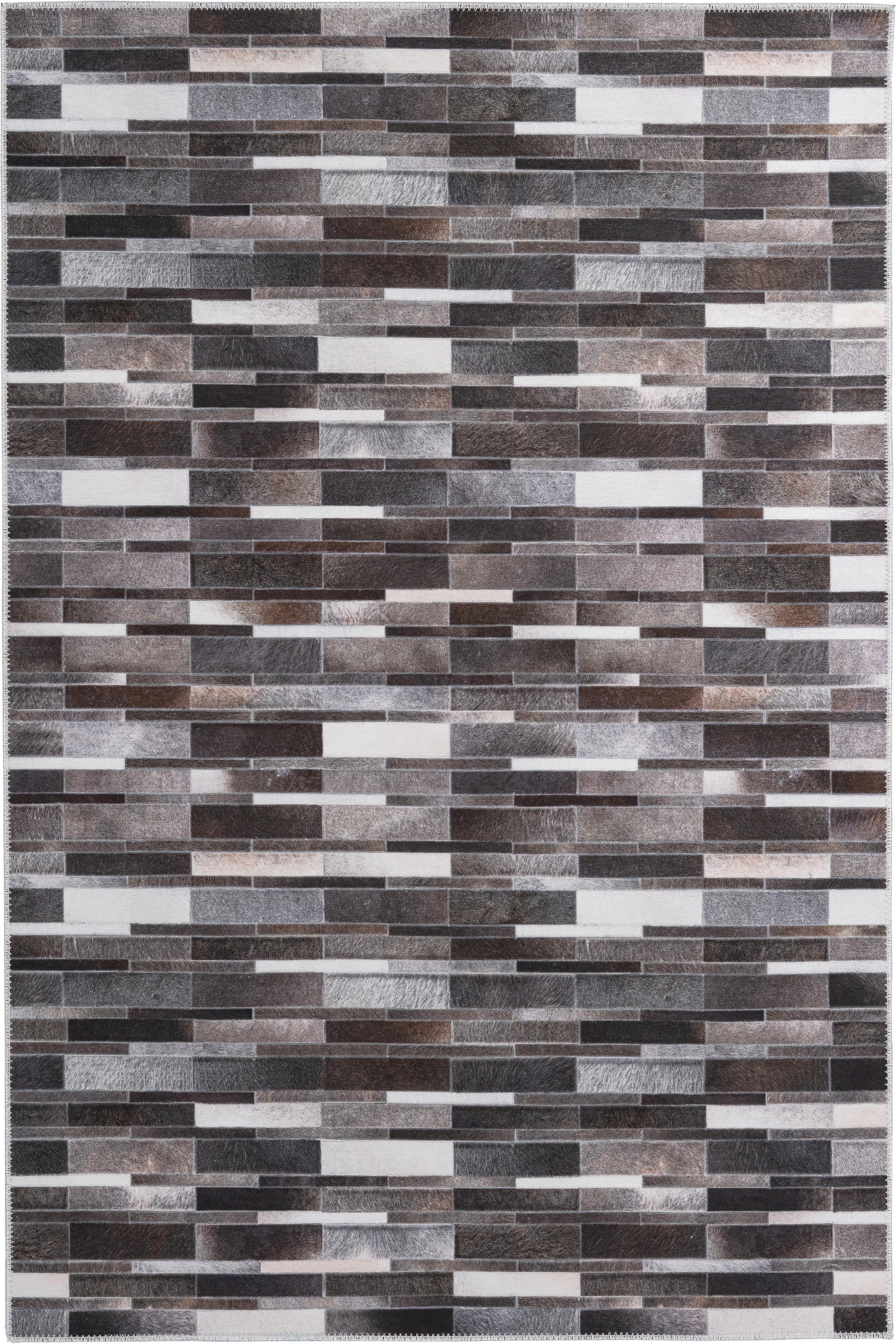 Vloerkleed My Bonanza, Bovenzijde: 100% polyester, Onderzijde: katoen, Beige, bruin- en grijstinten, B 80 x L 150 cm (maat XS)