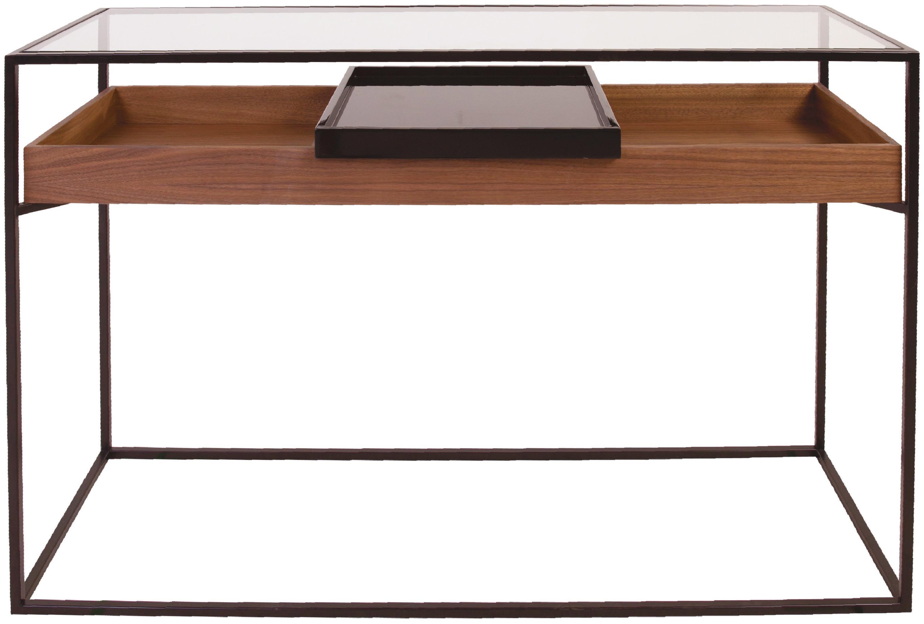 Consolle con contenitori Helix, Struttura: metallo verniciato a polv, Piano d'appoggio: vetro, Ripiano: pannello di fibra a media, Vassoio: metallo verniciato, Nero, trasparente, legno di noce, Larg. 120 x Prof. 40 cm