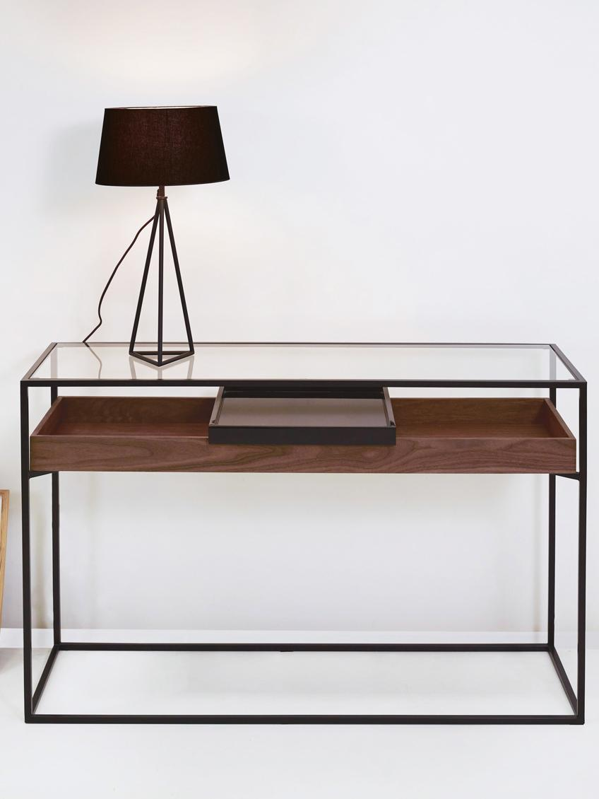 Konsole Helix mit Stauraum, Gestell: Metall, pulverbeschichtet, Tischplatte: Glas, Tablett: Metall, lackiert, Schwarz, Transparent, Walnussholz, B 120 x T 40 cm