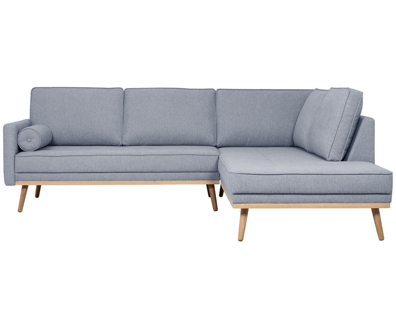 Hoekbank Saint (3-zits), Bekleding: polyester, Frame: massief grenenhout, spaan, Blauwgrijs, 243 x 70 cm