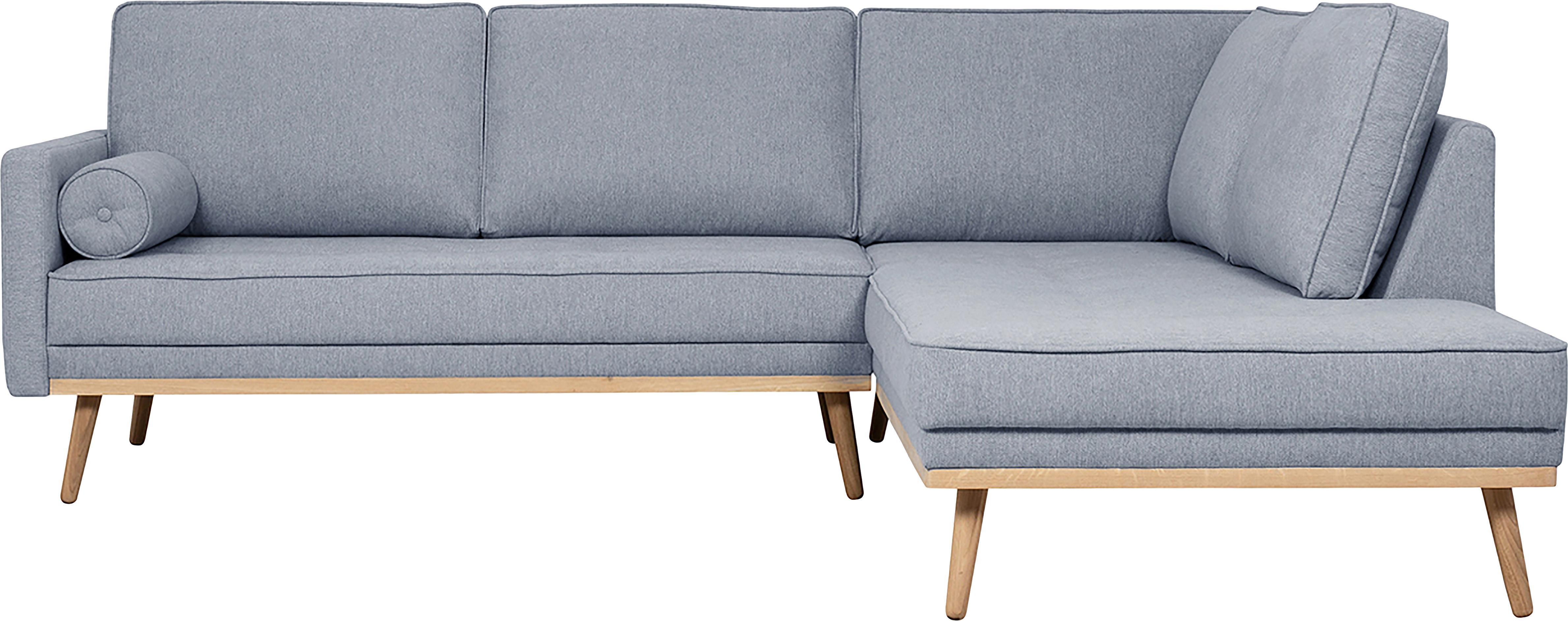 Hoekbank Saint (3-zits), Bekleding: polyester, Frame: massief grenenhout, spaan, Geweven stof blauwgrijs, 243 x 70 cm