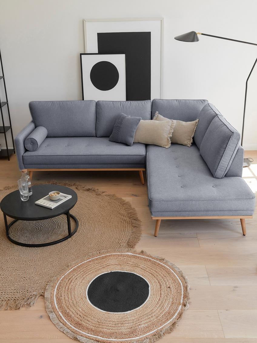 Ecksofa Saint (3-Sitzer), Bezug: Polyester 50.000 Scheuert, Gestell: Massives Kiefernholz, Spa, Webstoff Blaugrau, 243 x 70 cm