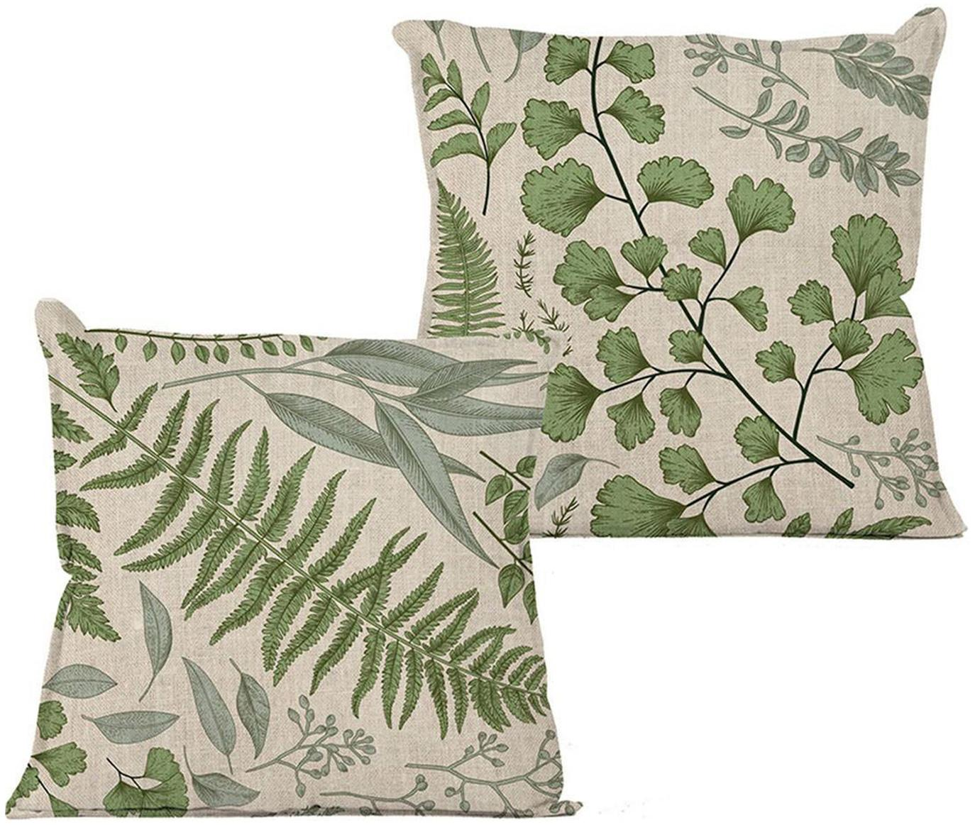 Cojín Lino, con relleno, Funda: lino, Verde, beige, An 45 x L 45 cm