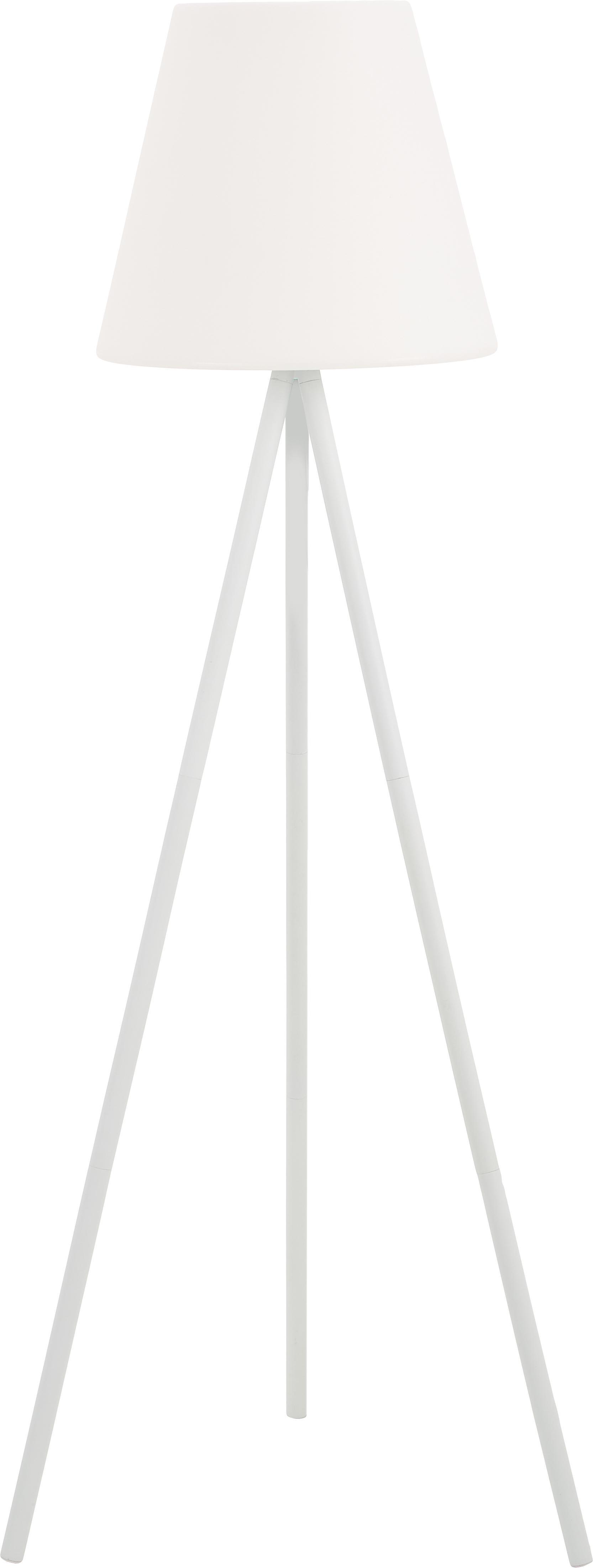Lampada da terra da esterno Wells, Paralume: plastica, Base della lampada: alluminio anodizzato, Bianco, Ø 35 x Alt. 134 cm