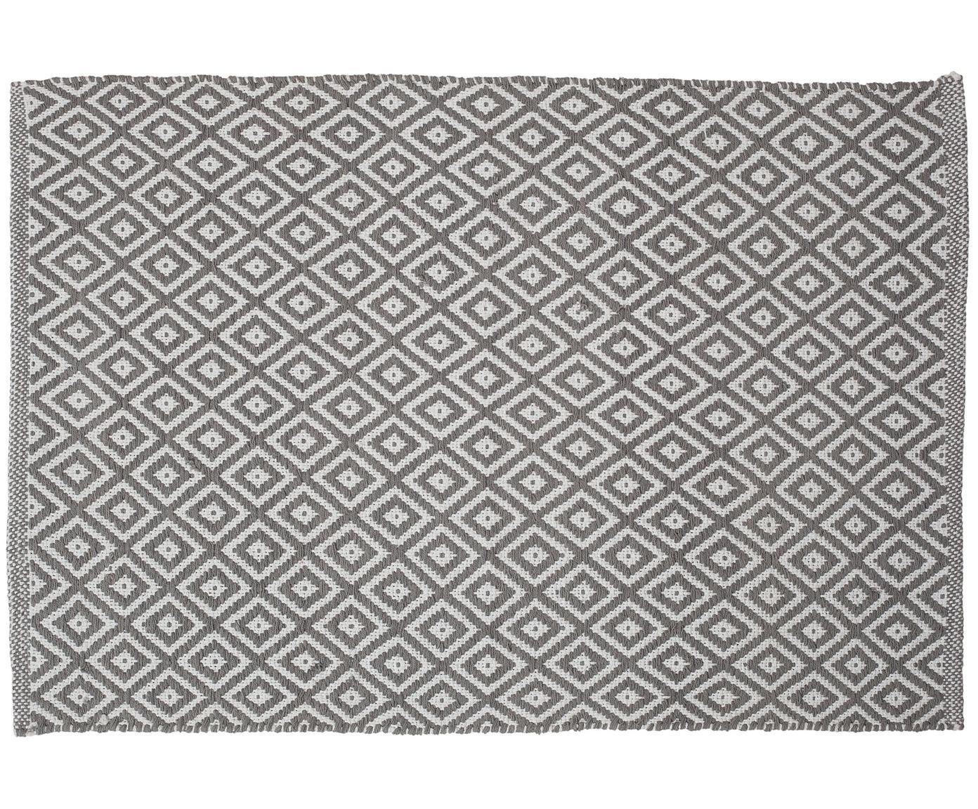 Alfombrilla de baño Erin, estilo boho, Algodón, Gris, blanco, An 60 x L 90 cm