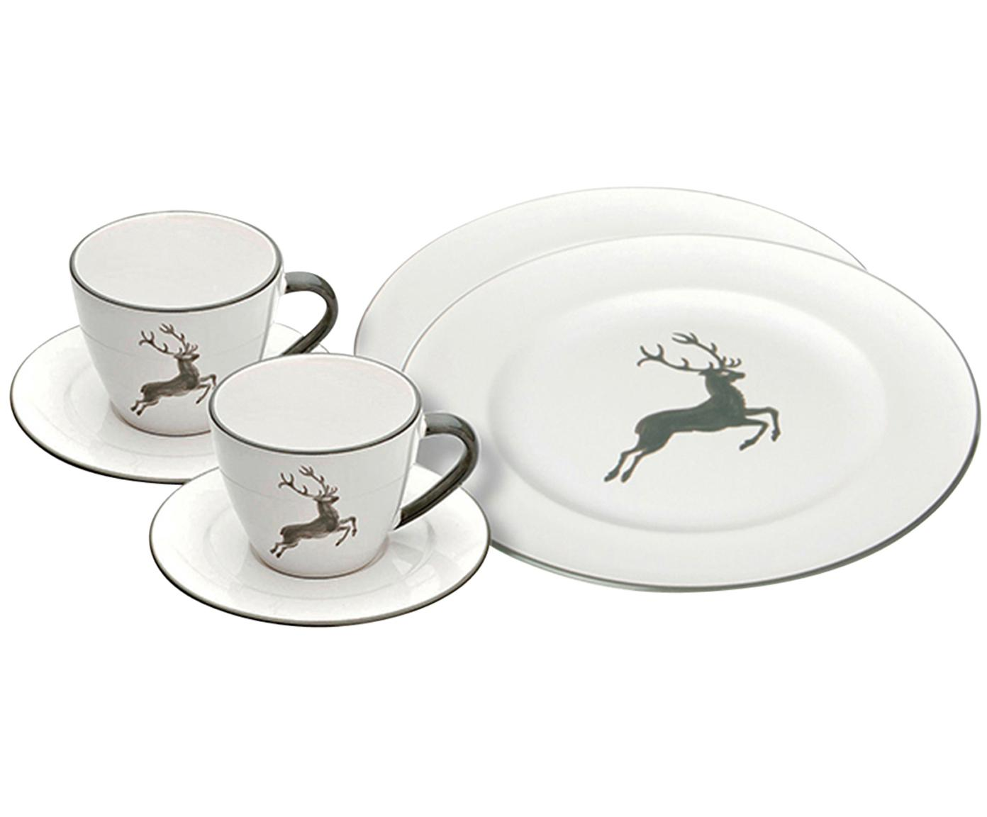 Kaffeeservice Gourmet Grauer Hirsch, 2 Personen (6-tlg.), Keramik, Grau,Weiß, verschiedene Größen