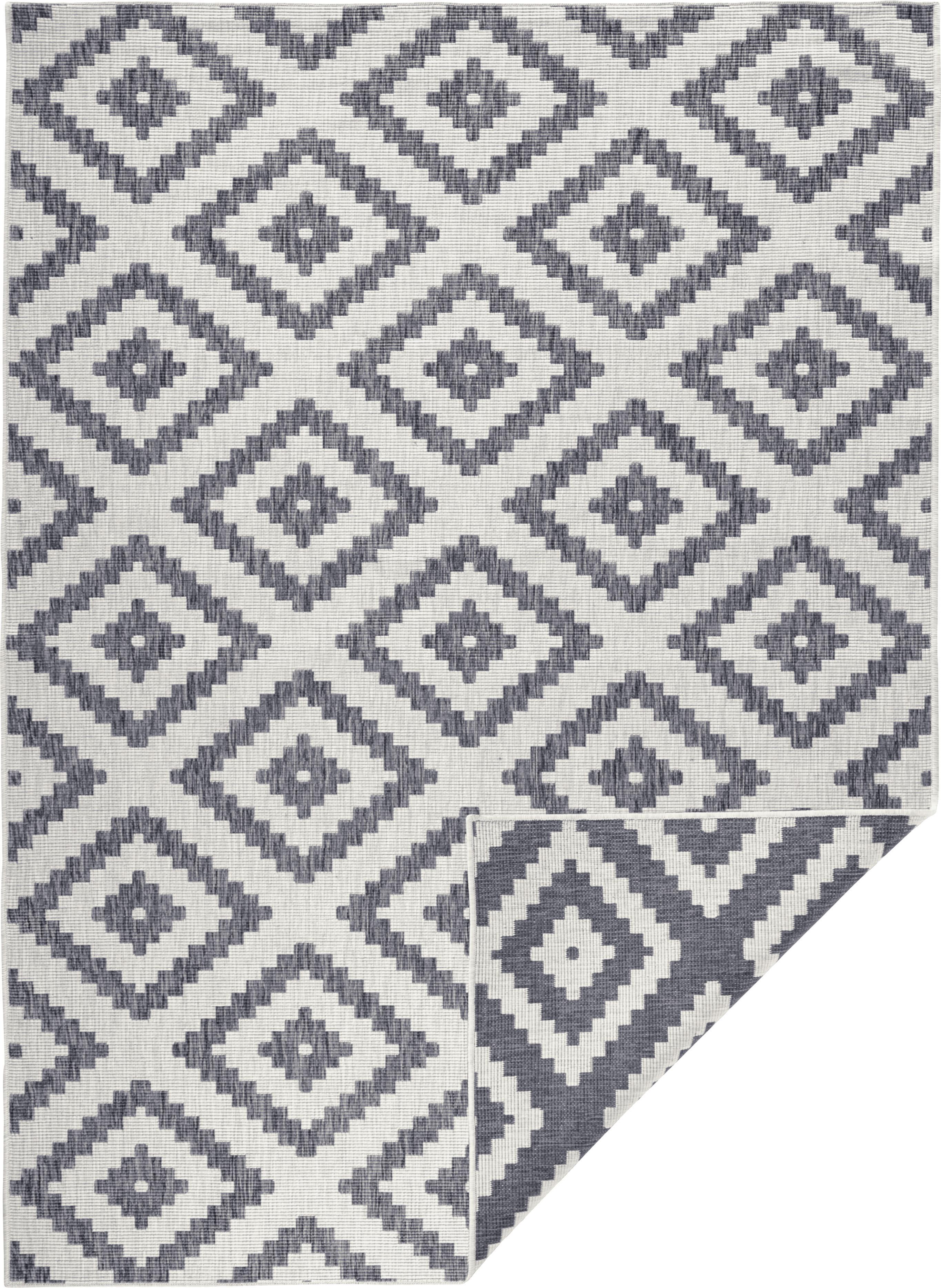 In- und Outdoor-Wendeteppich Malta in Grau/Creme, Grau, Cremefarben, B 80 x L 150 cm (Größe XS)