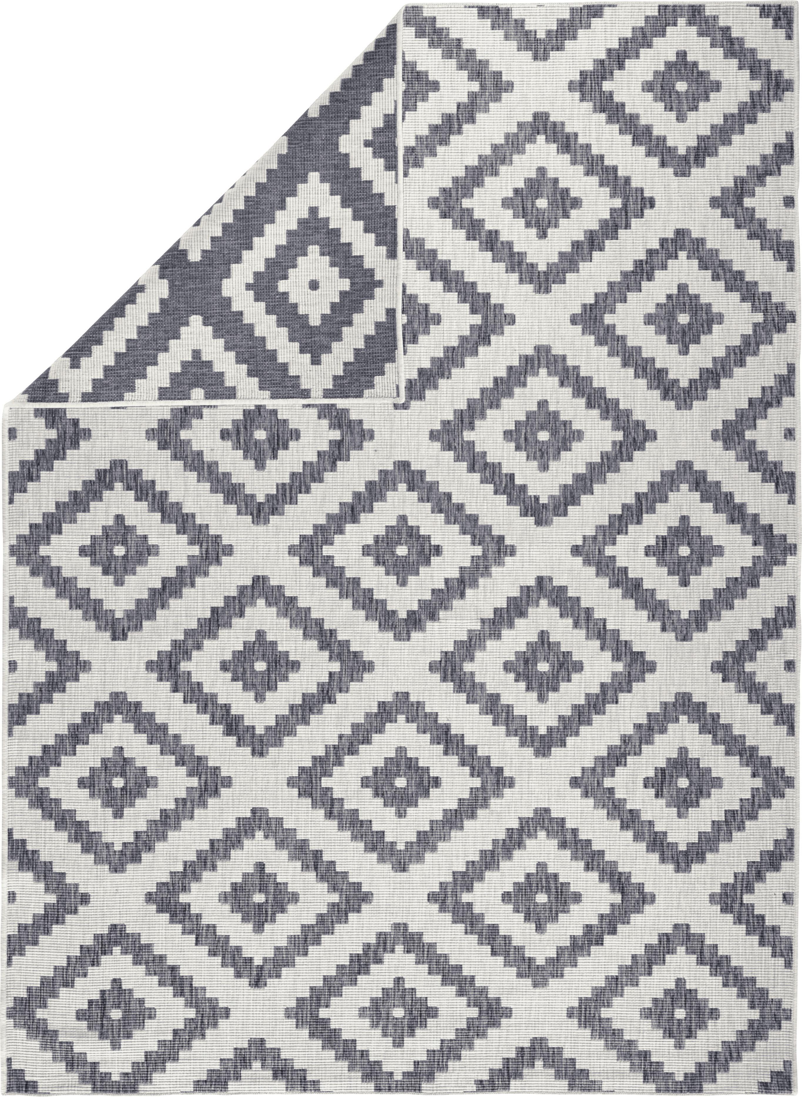 Dubbelzijdig in- en outdoor vloerkleed Malta in grijs/crème kleur, Grijs, crèmekleurig, B 80 x L 150 cm (maat XS)