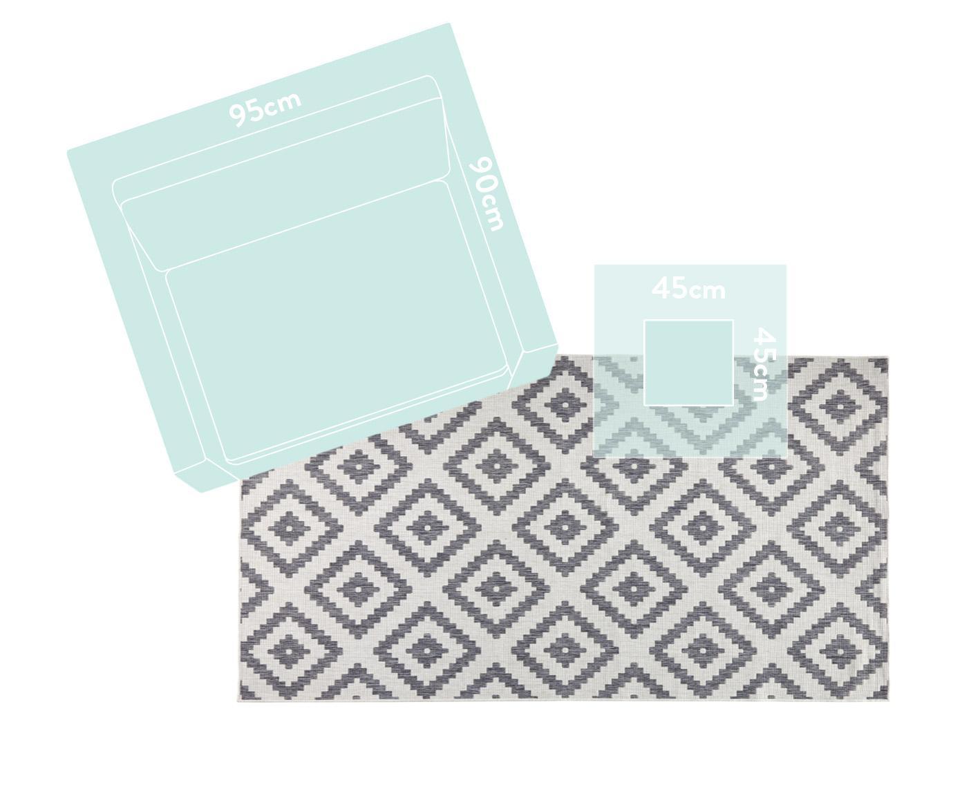 Dwustronny dywan wewnętrzny/zewnętrzny Malta, Szary, kremowy, S 80 x D 150 cm (Rozmiar XS)