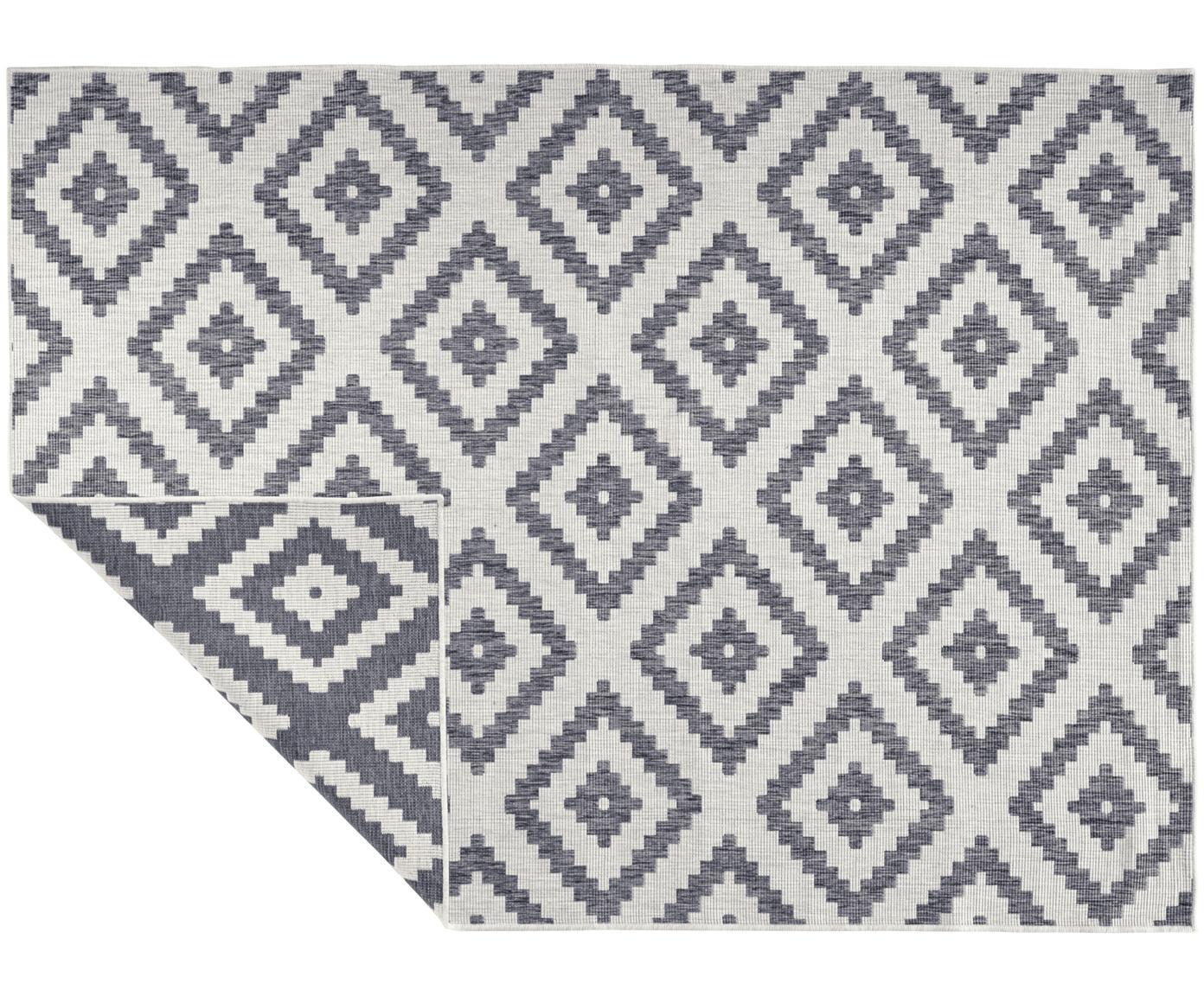 Dubbelzijdig in- en outdoor vloerkleed Malta in grijs/crèmekleur, Grijs, crèmekleurig, B 80 x L 150 cm (maat XS)