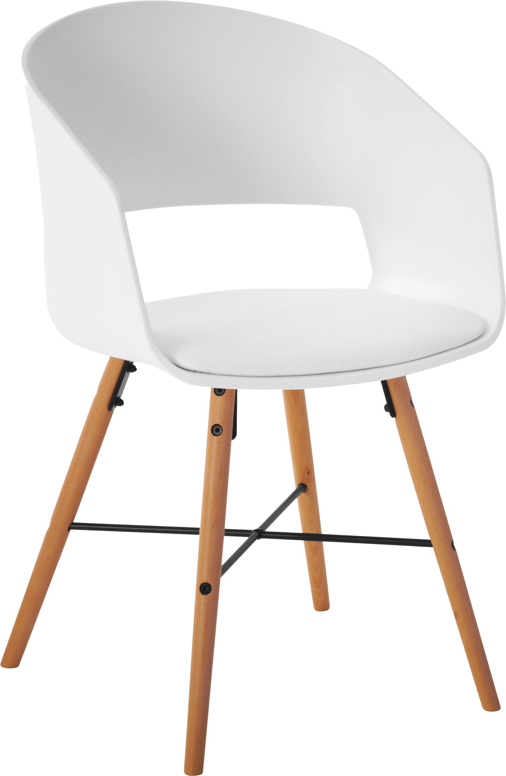 Armlehnstühle Luna mit gepolsteter Sitzfläche, 2 Stück, Beine: Buchenholz, lackiert, Weiss, B 52 x T 52 cm