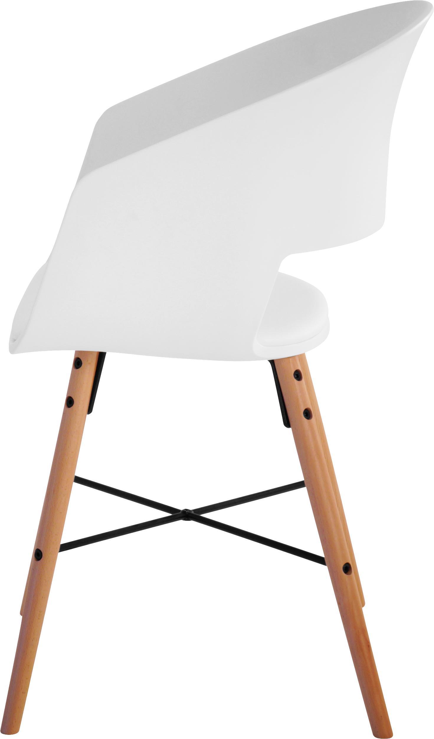 Armlehnstühle Luna mit gepolsteter Sitzfläche, 2 Stück, Beine: Buchenholz, lackiert, Weiß, B 52 x T 52 cm
