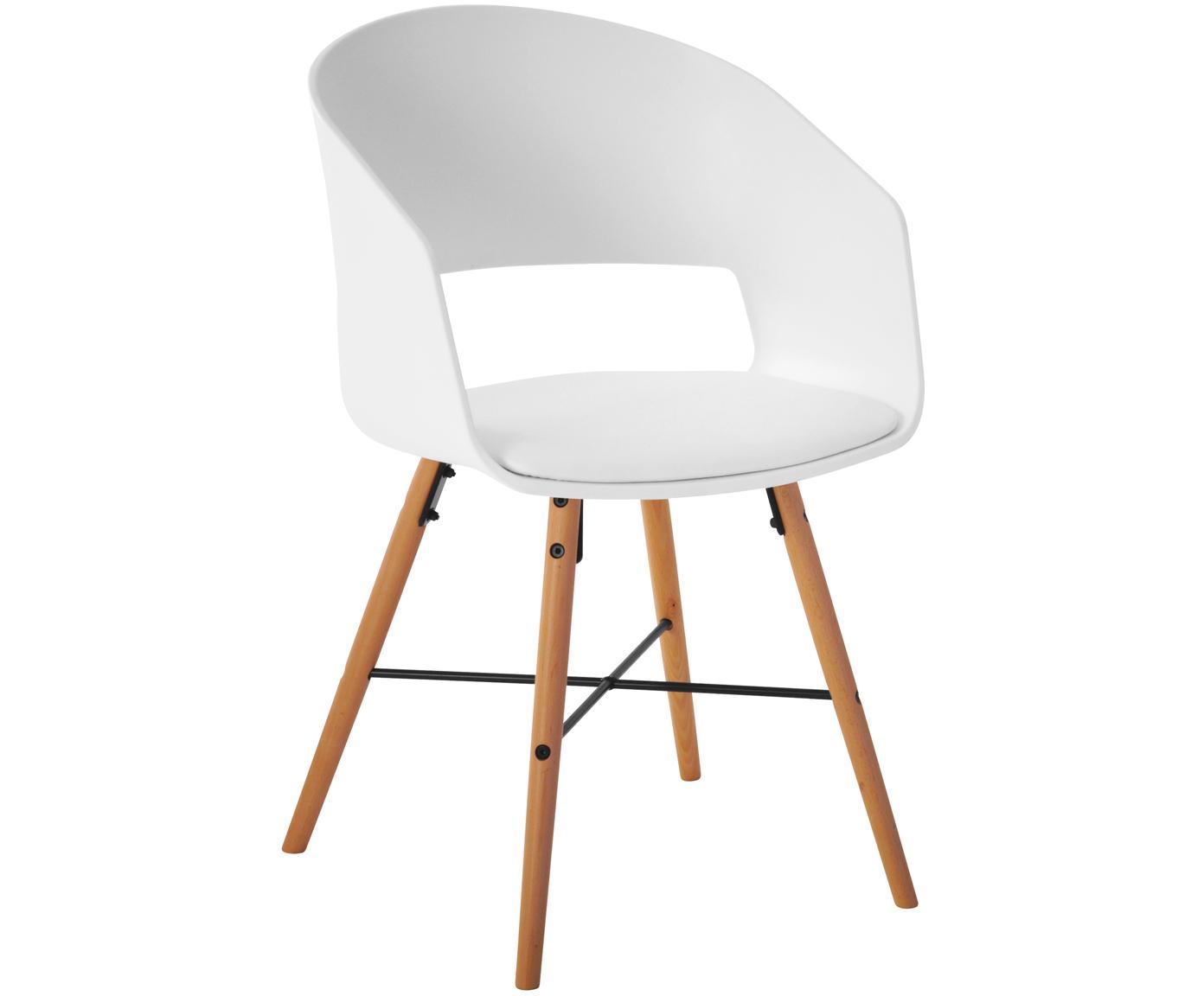 Krzesło z podłokietnikami z tapicerowanym siedziskiem Luna, 2 szt., Nogi: drewno bukowe, lakierowan, Biały, S 52 x W 81 cm