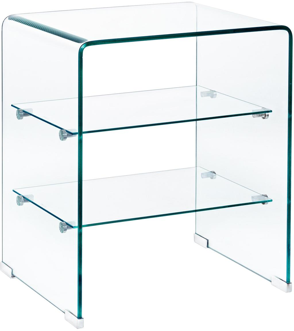 Glazen nachtkastje Glasse, Glas, Transparant, 50 x 58 cm
